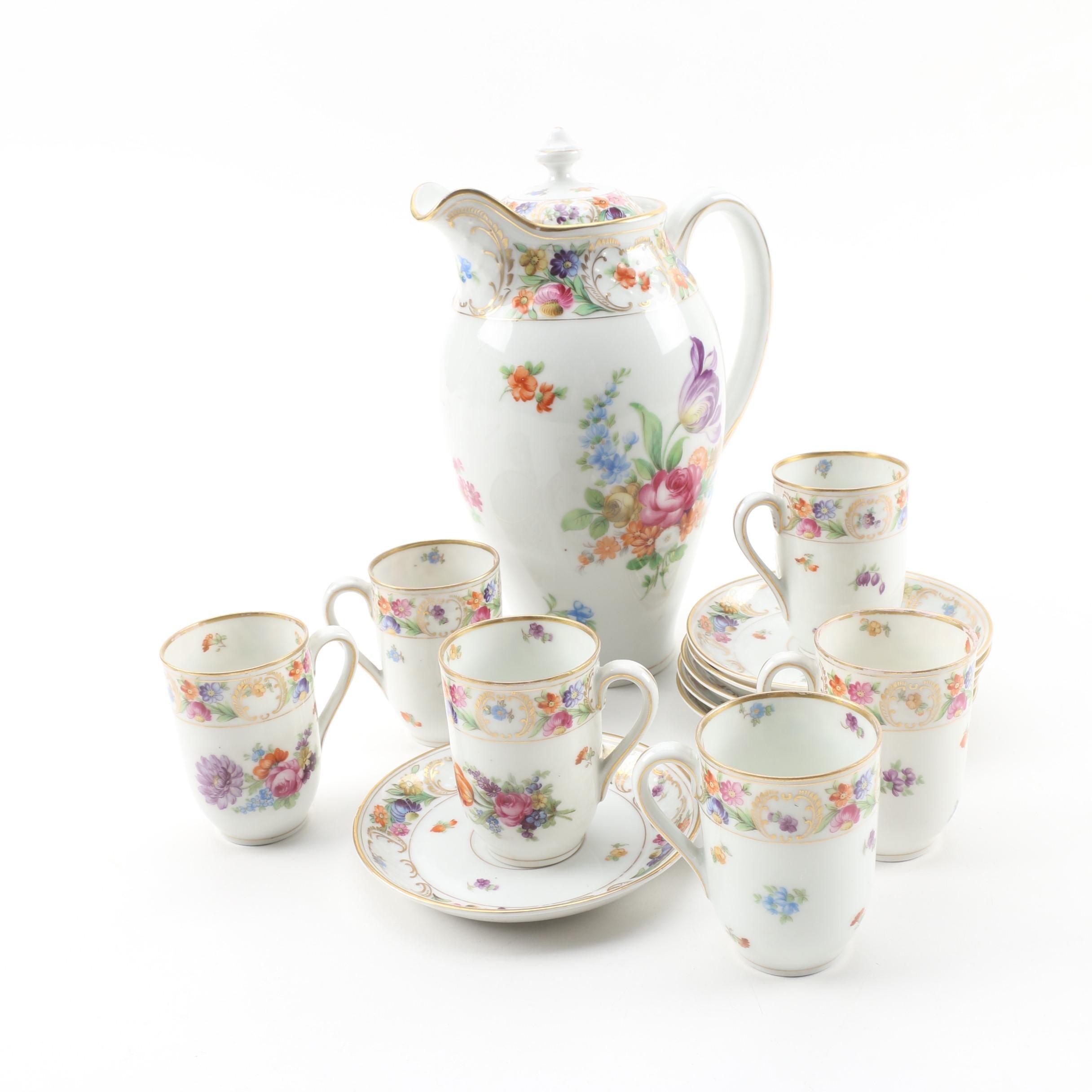 """Schumann """"Empress Dresden Flowers"""" Porcelain Tea Service c. 1945-81"""