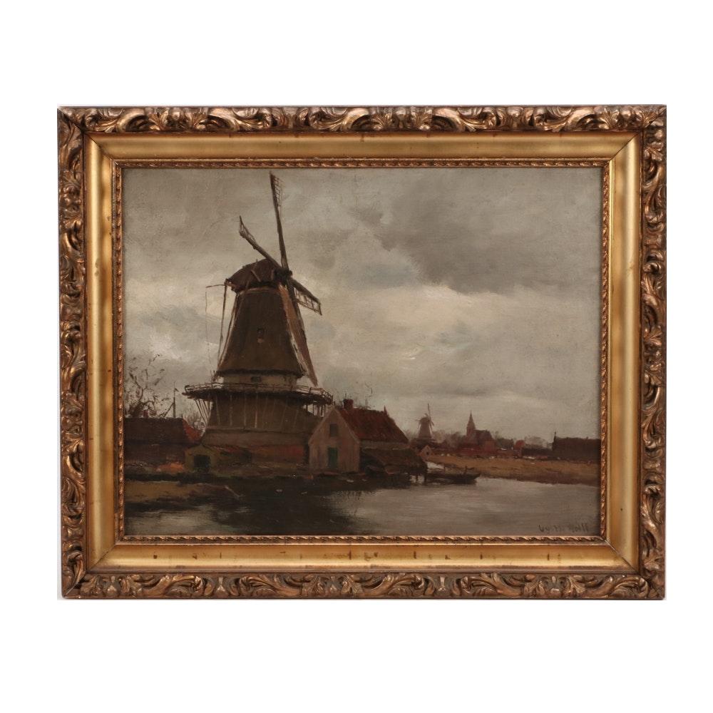 Gustav Wolff Tonalist Oil Landscape Painting on Canvas