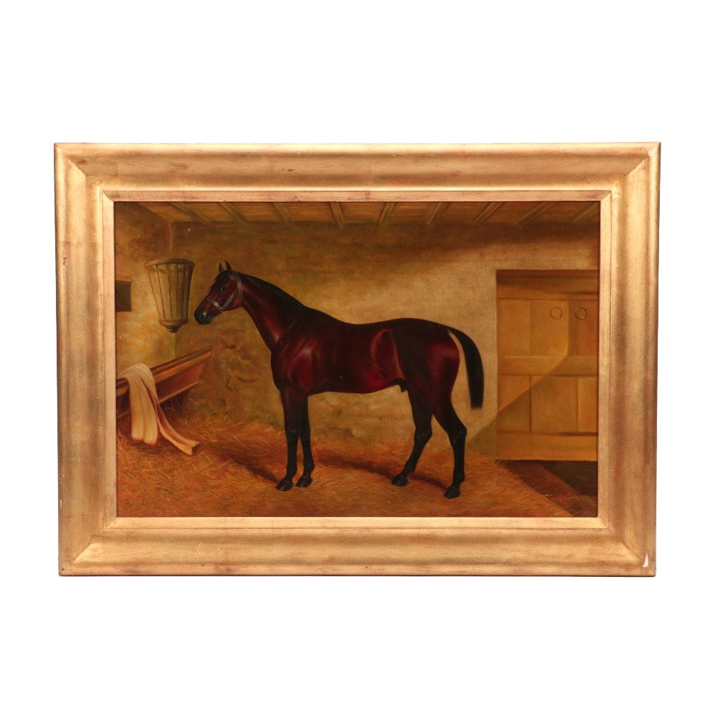 20th-Century Equine Stable Portrait Oil Painting