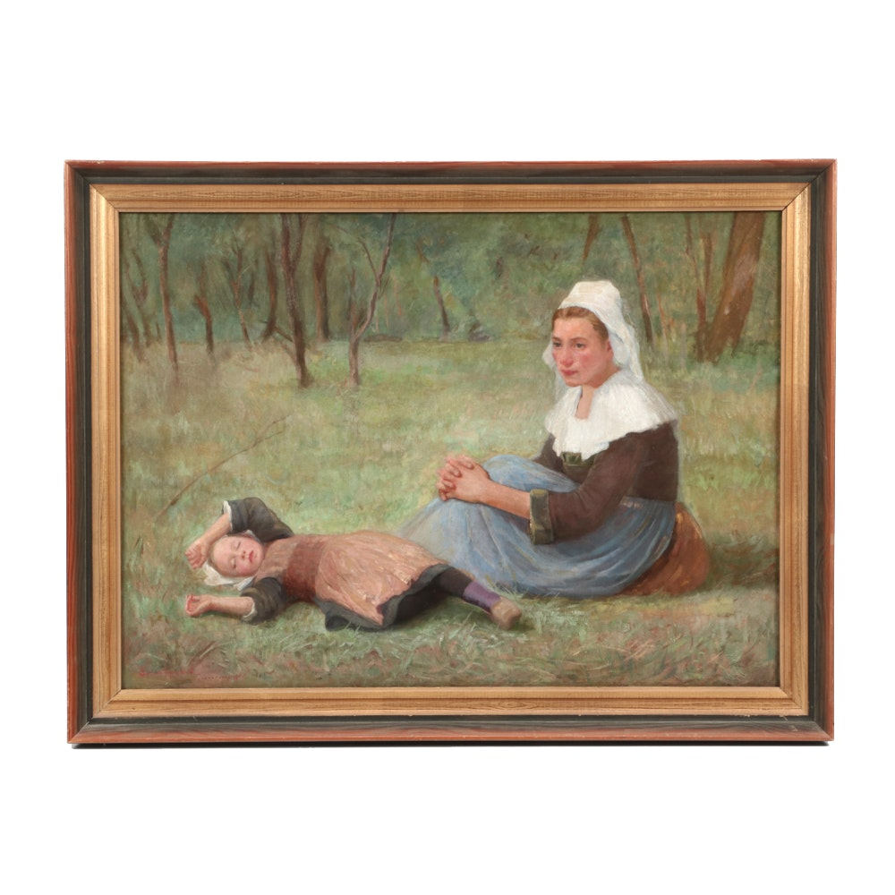 Eudora Hereford 1895 Oil Painting of Mother and Child in Landscape