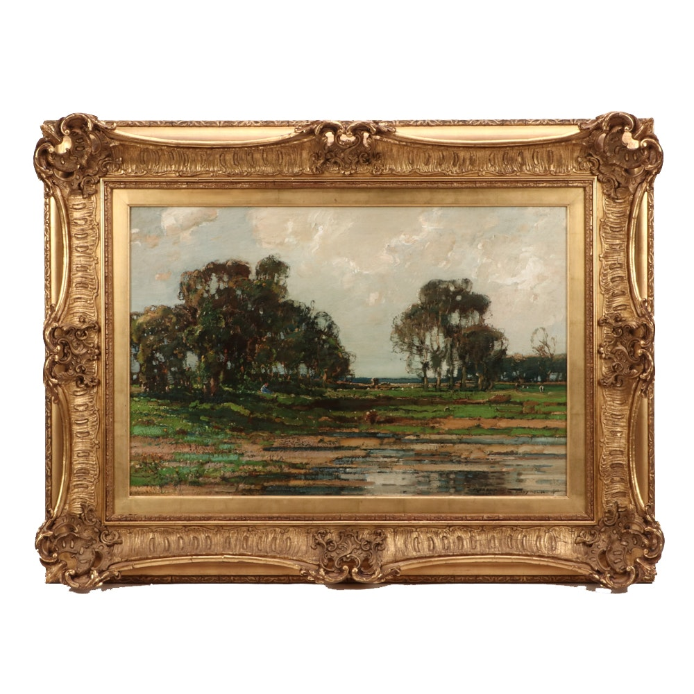Kershaw Schofield Pastoral Landscape Oil Painting