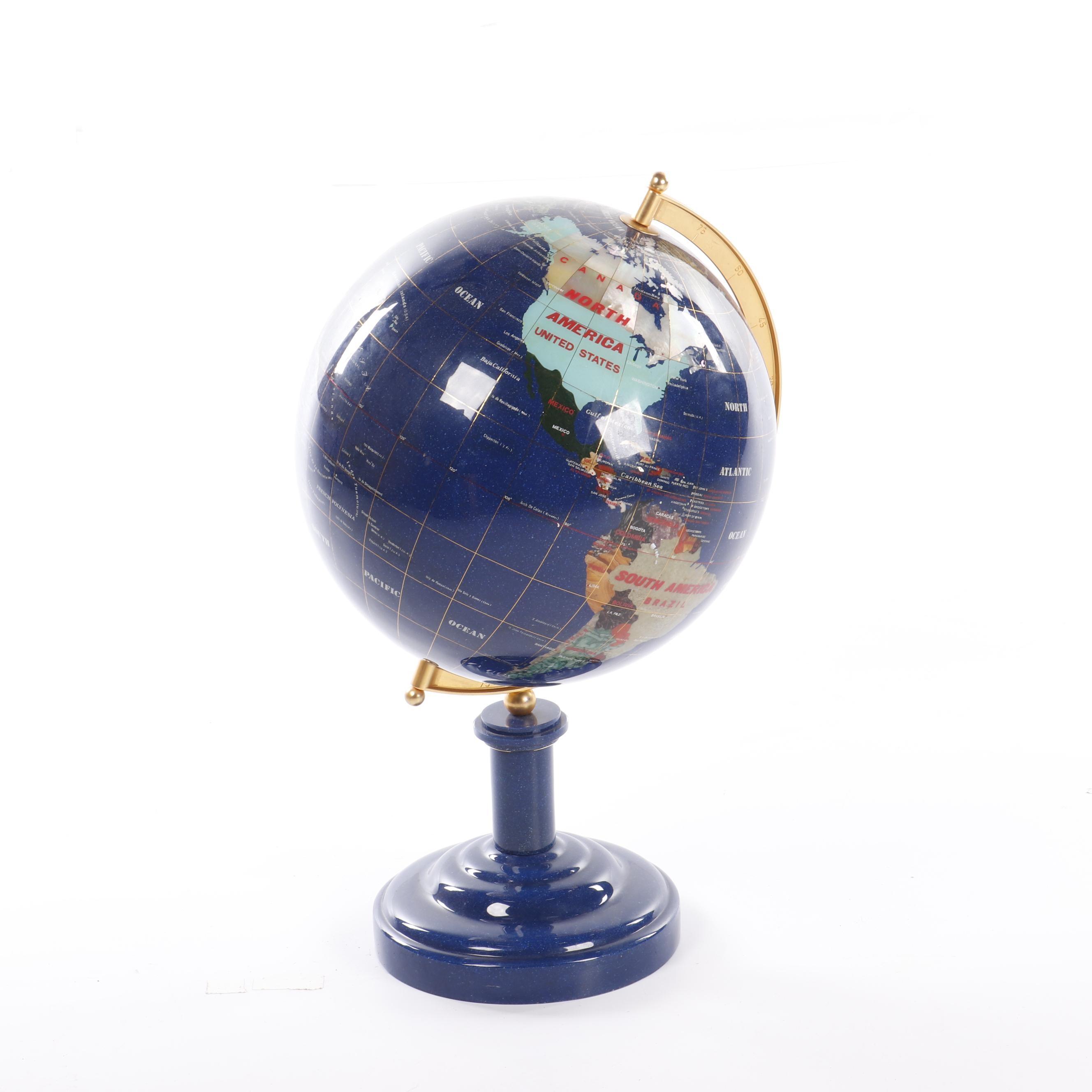 Stone Inlay Desk Globe