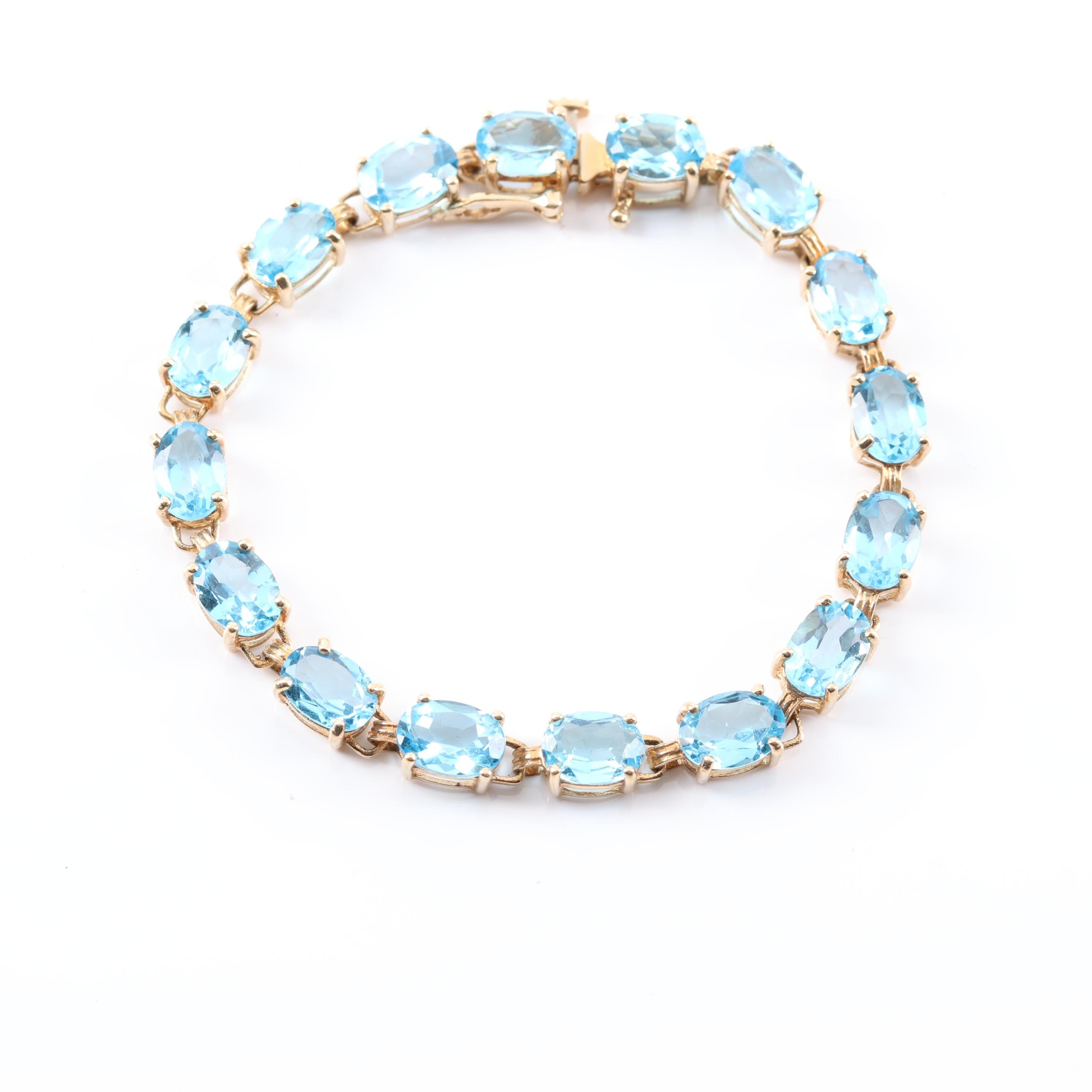 10K Yellow Gold 16.00 CTW Blue Topaz Bracelet