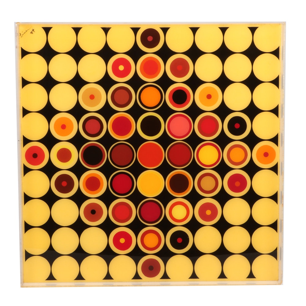 "Evelyn Liner 1984 Reverse Acrylic Painting on Plexiglass ""81 Targets"""