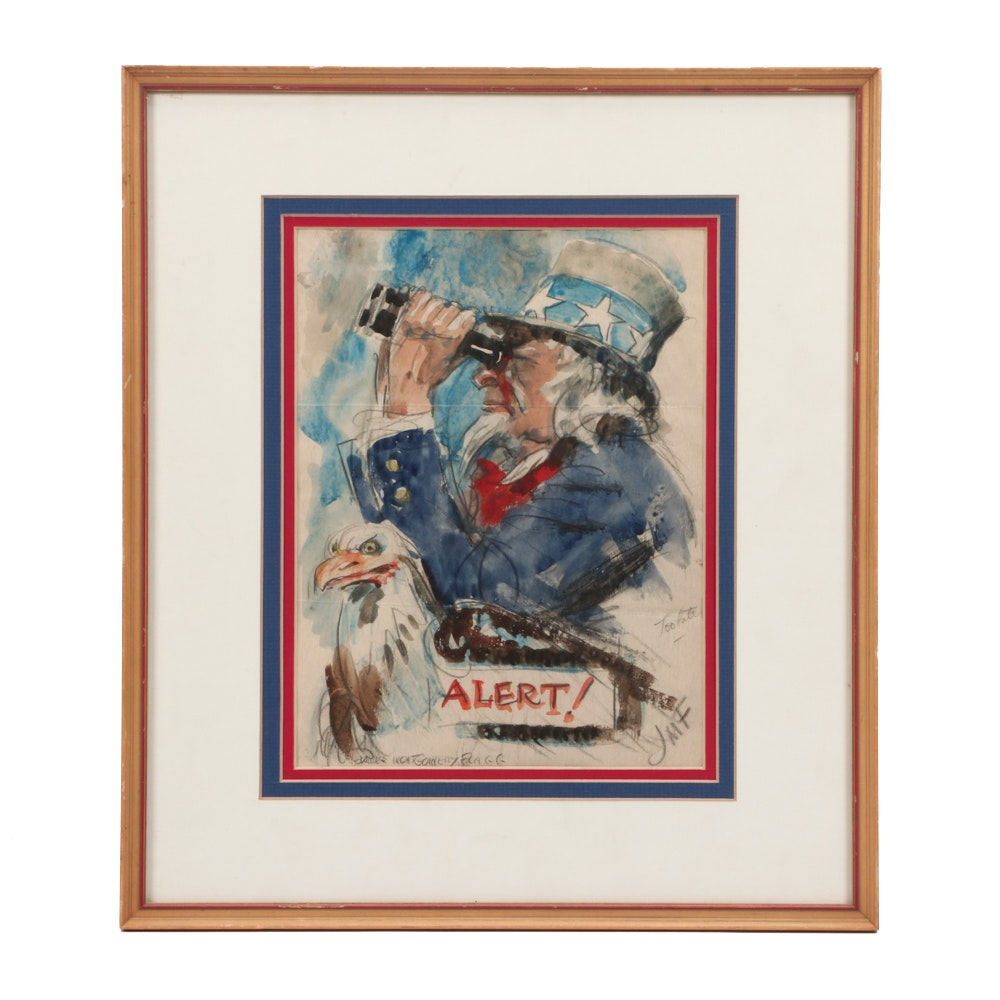 "James Montgomery Flagg Watercolor Uncle Sam Sketch ""Uncle Sam - Alert"""