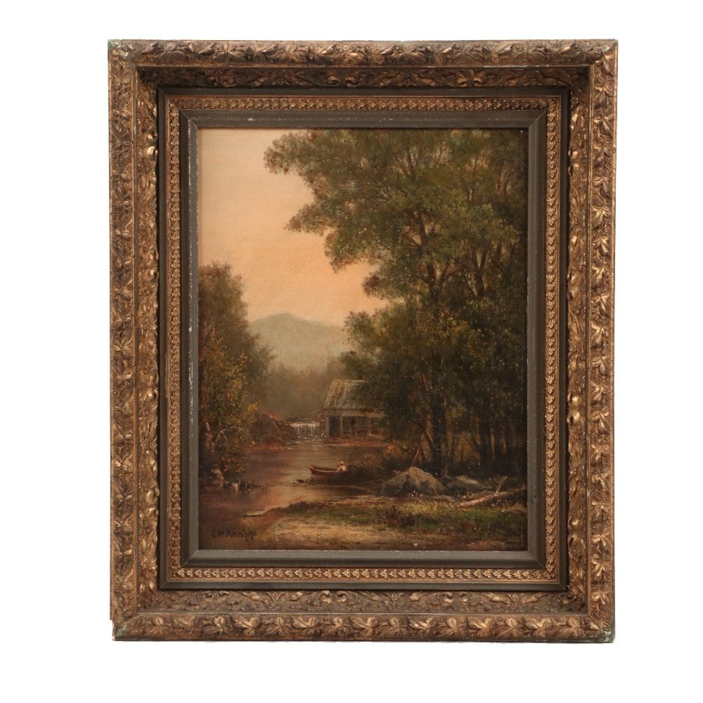 Charles Wilson Knapp Hudson River School Style Oil on Canvas