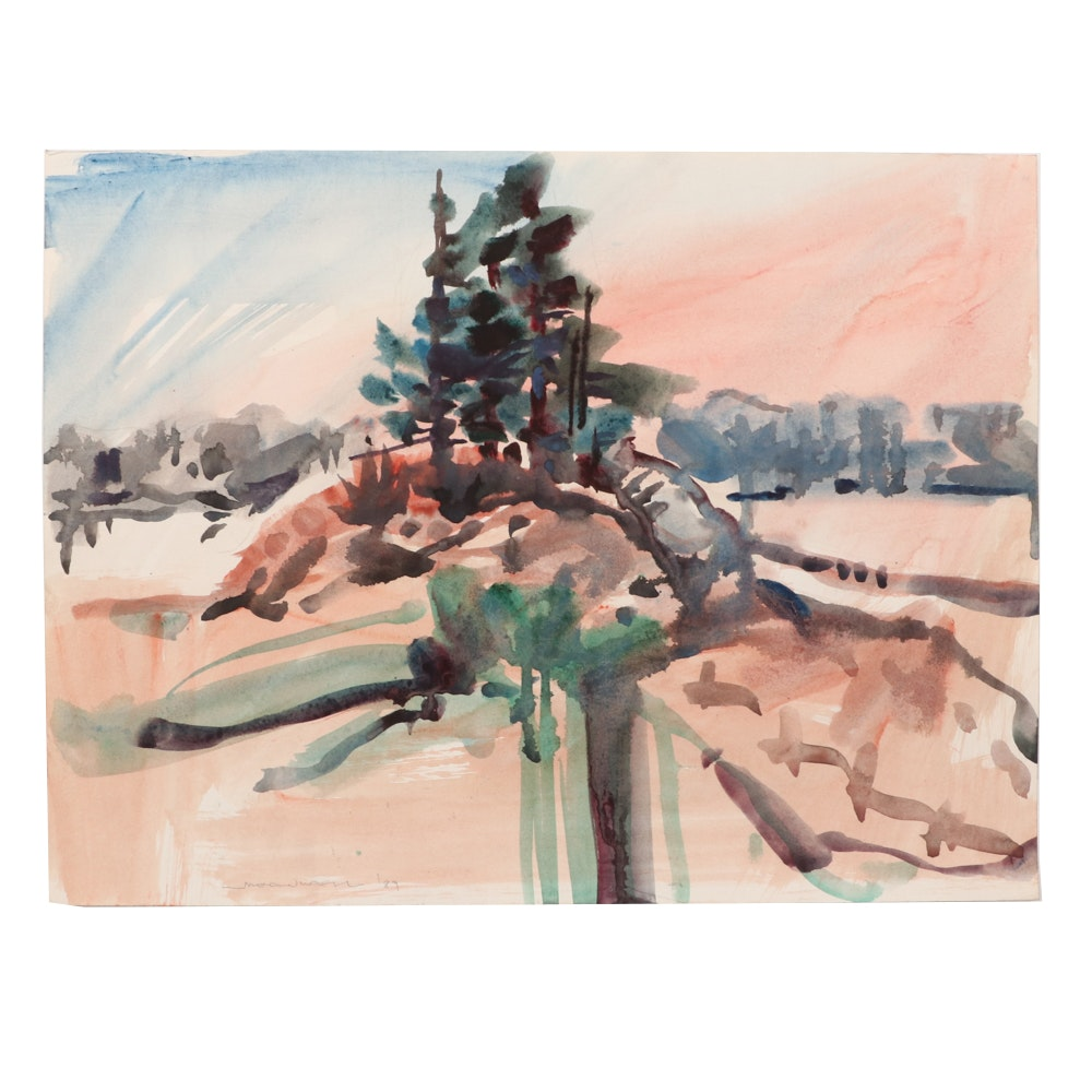 Jack Meanwell 1989 Abstract Watercolor Landscape Painting