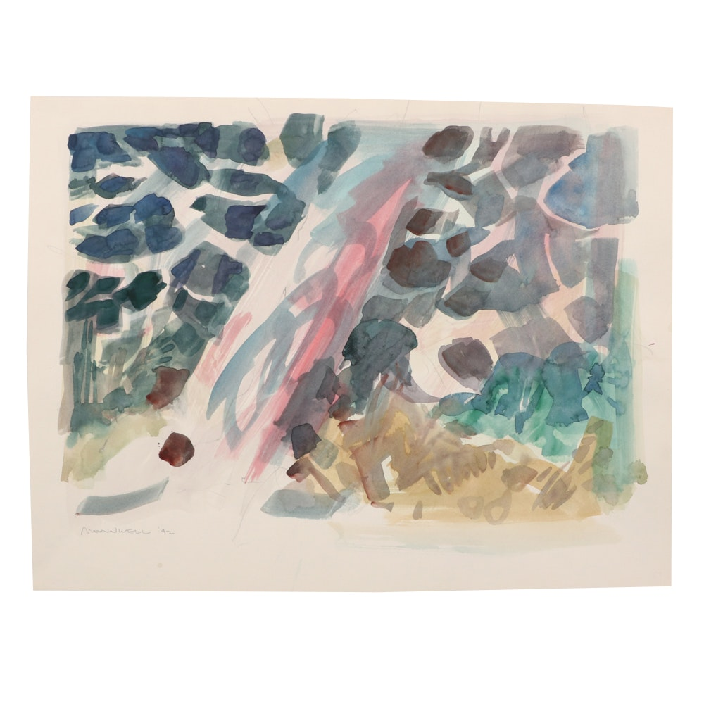Jack Meanwell 1992 Abstract Watercolor Painting
