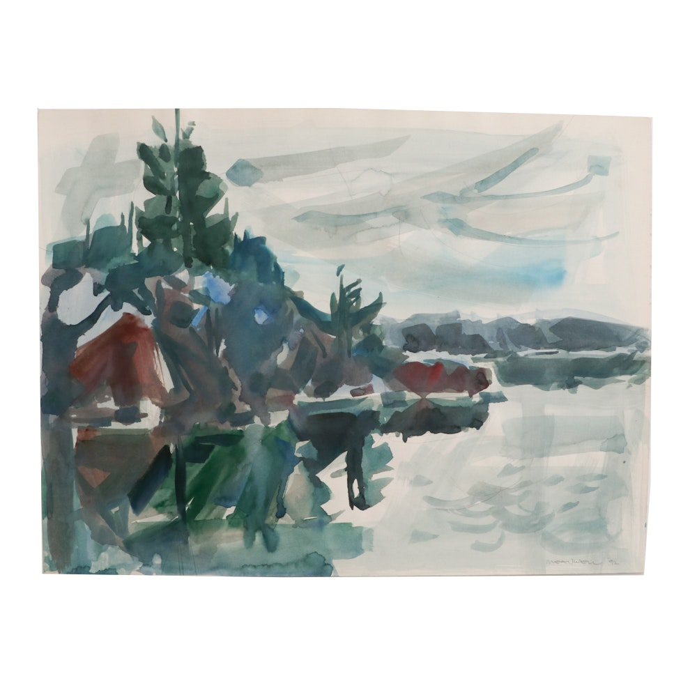 Jack Meanwell 1992 Abstract Watercolor Landscape Painting