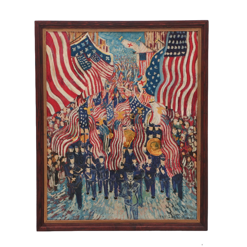 "Johannes Schiefer 1942 Oil Painting ""New York Parade"""