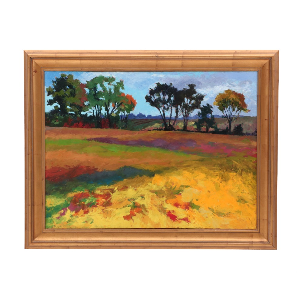"""Pam Folsom Large Contemporary Oil Landscape Painting """"Inspiration"""""""