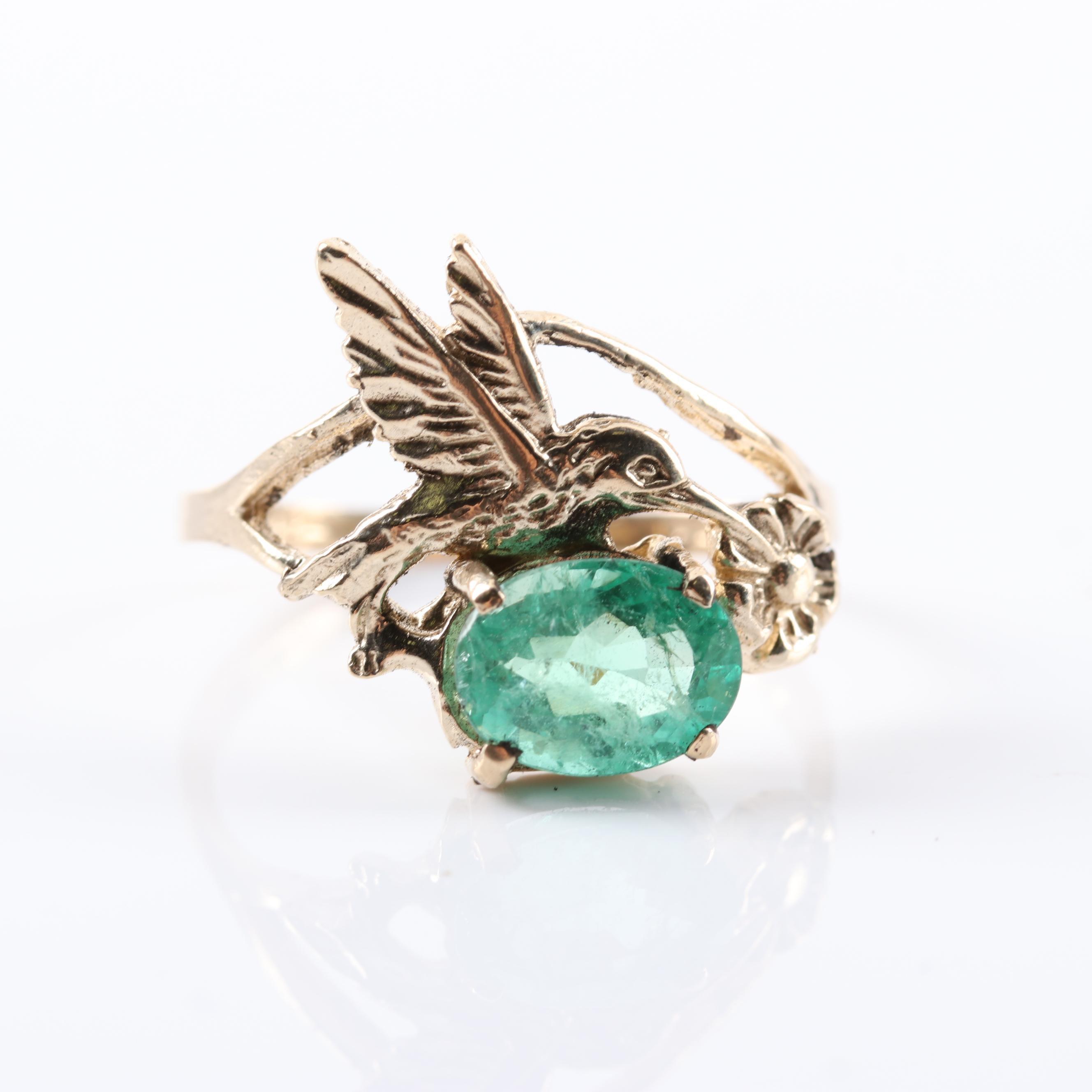 10K Yellow Gold 1.40 CT Emerald Hummingbird Ring