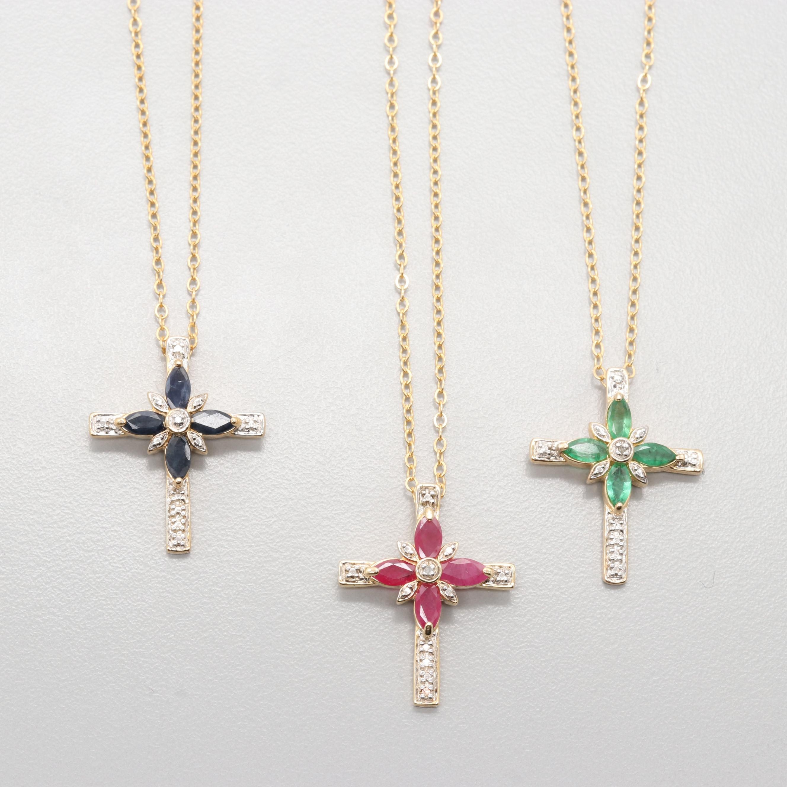 Gold Wash on Sterling Silver Ruby, Sapphire, Emerald and Diamond Cross Necklaces