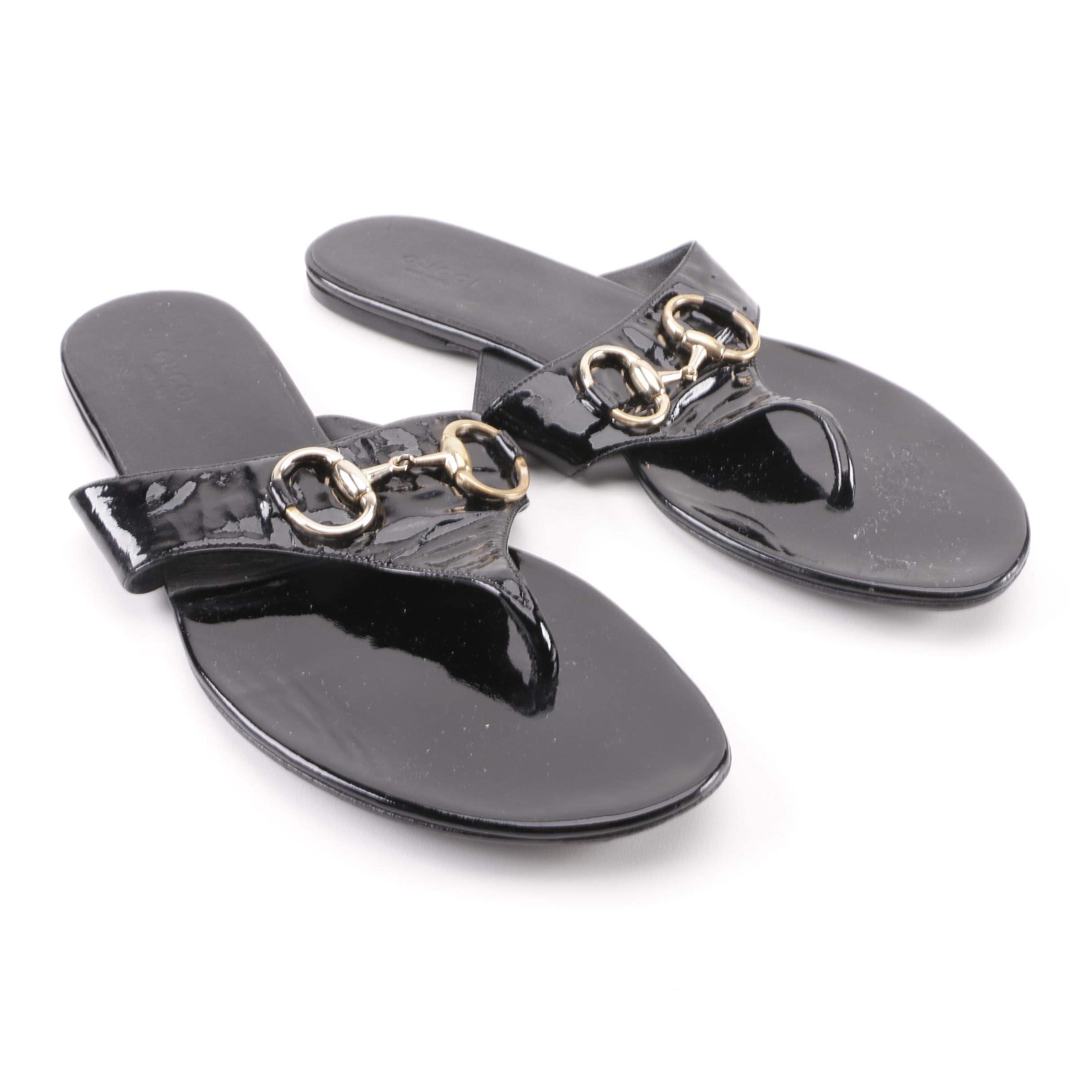 Women's Gucci Black Patent Leather Horsebit Thong Sandals