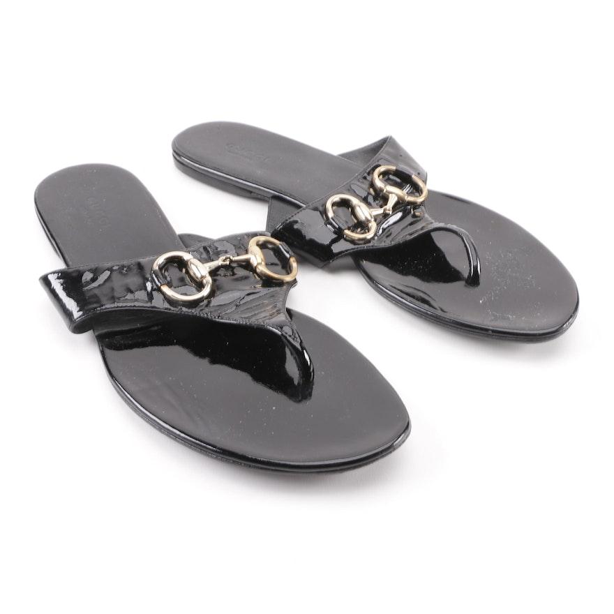 Women s Gucci Black Patent Leather Horsebit Thong Sandals   EBTH 85f799776