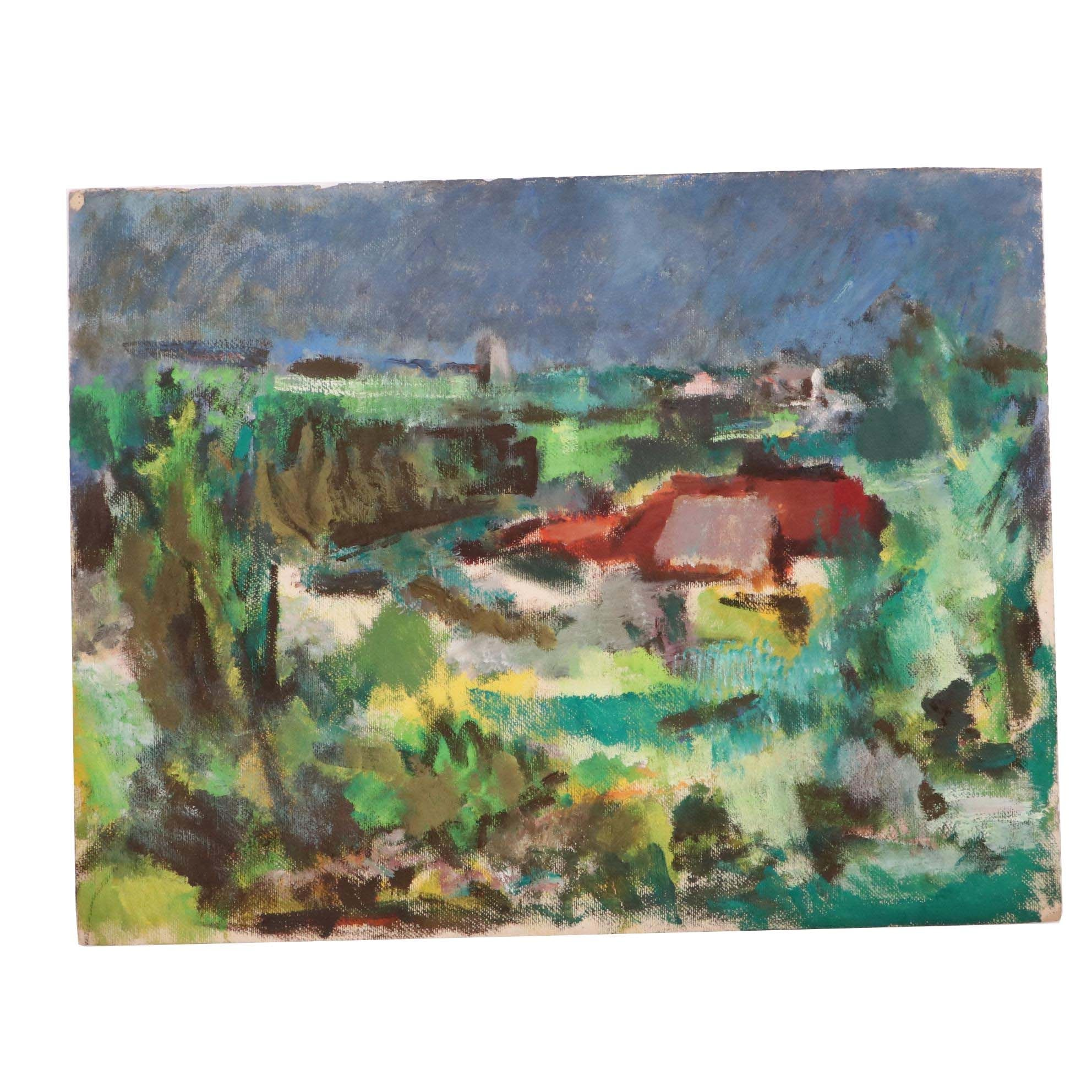Paul Chidlaw Gestural Landscape Acrylic Painting