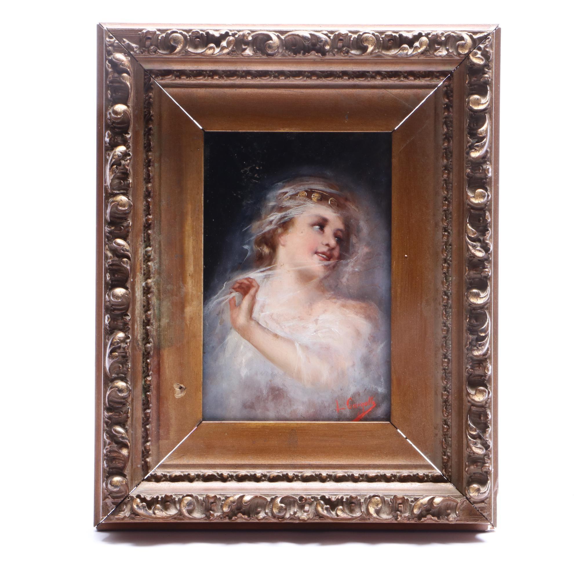 L. Gargallo Turn-of-the-Century Italian Oil Portrait on Wood