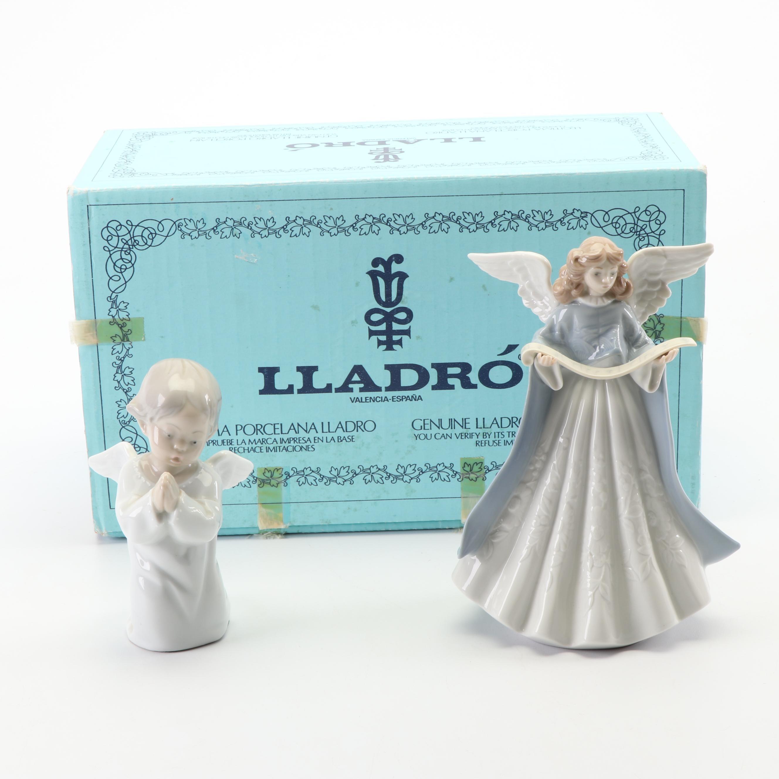 "Lladró ""Tree Topper '90"" Angel Tree Topper and ""Angel Praying"" Figurine"