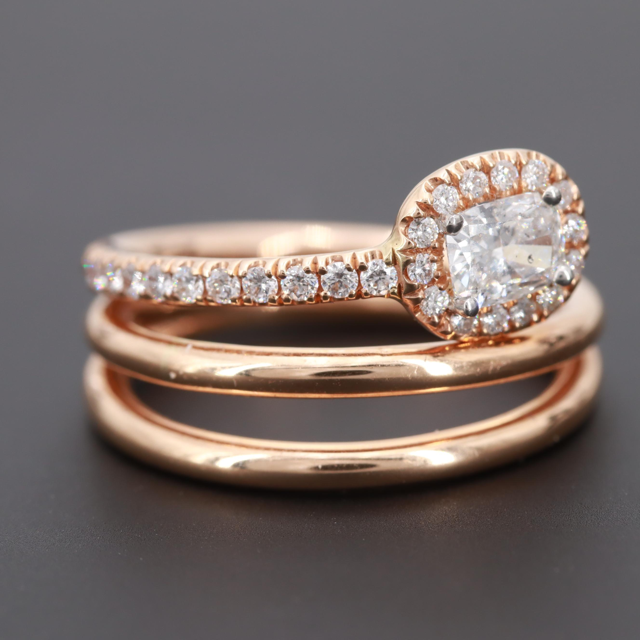 18K Rose Gold Diamond Abstract Snake Ring
