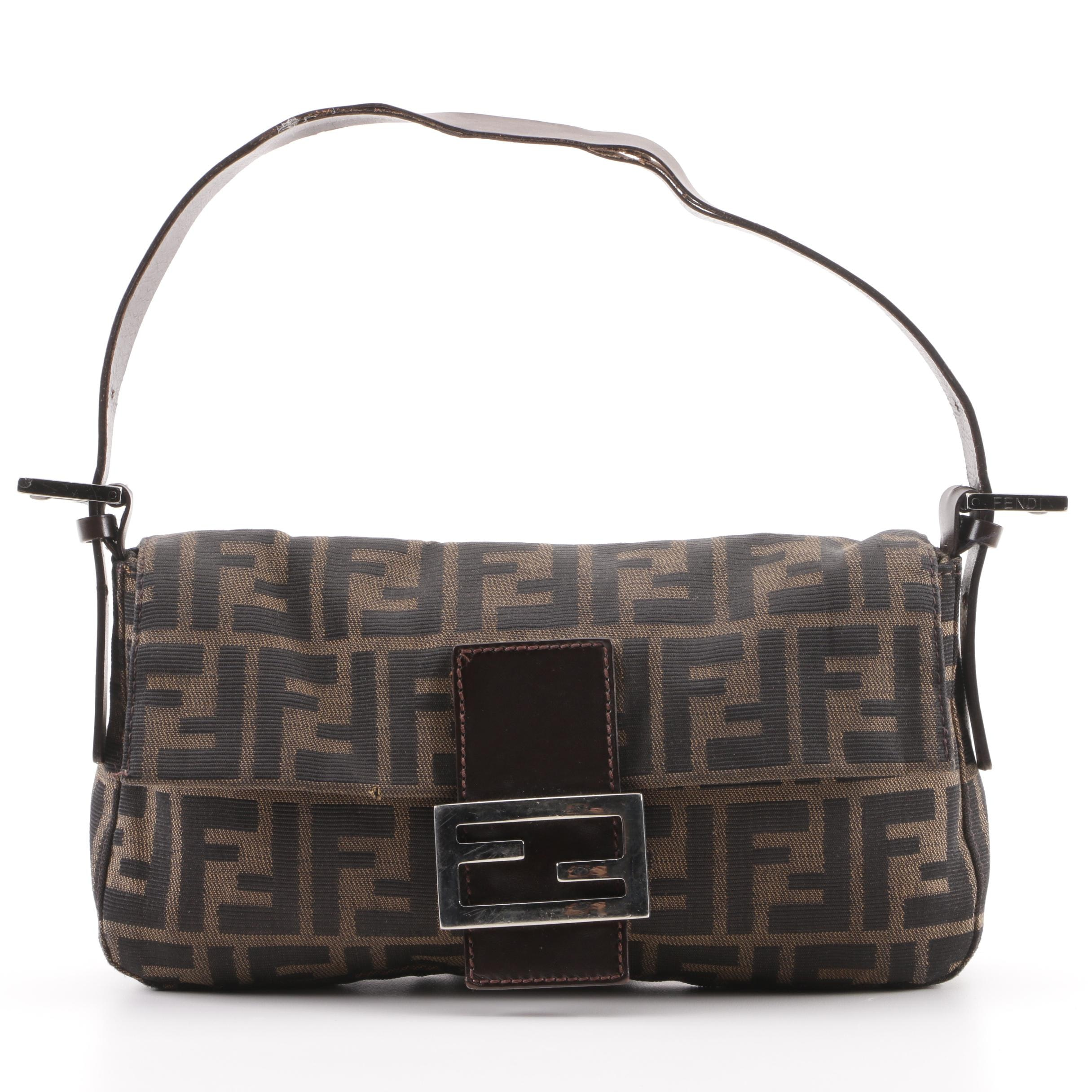 Fendi Zucca Canvas and Dark Brown Leather Baguette