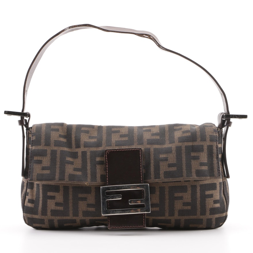 98843f890af Fendi Zucca Canvas and Dark Brown Leather Baguette   EBTH
