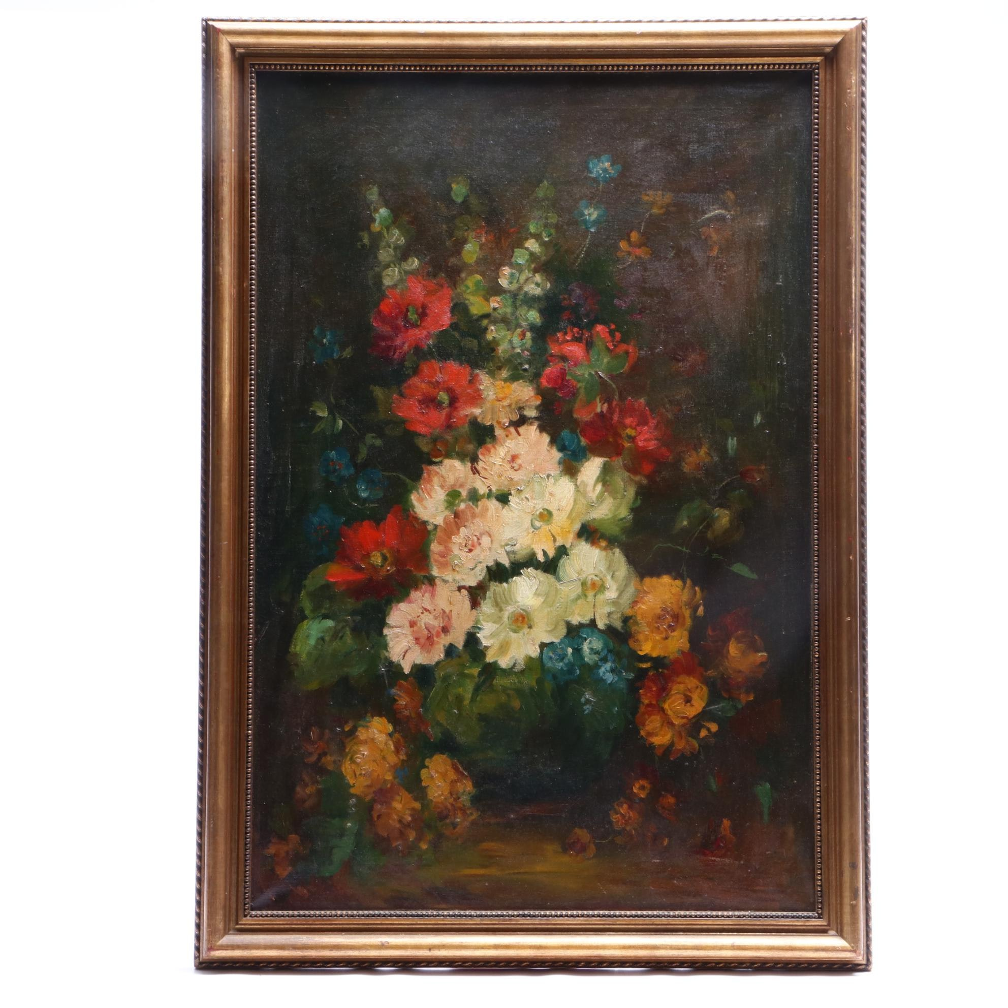 Early 20th-Century Floral Still Life Oil Painting