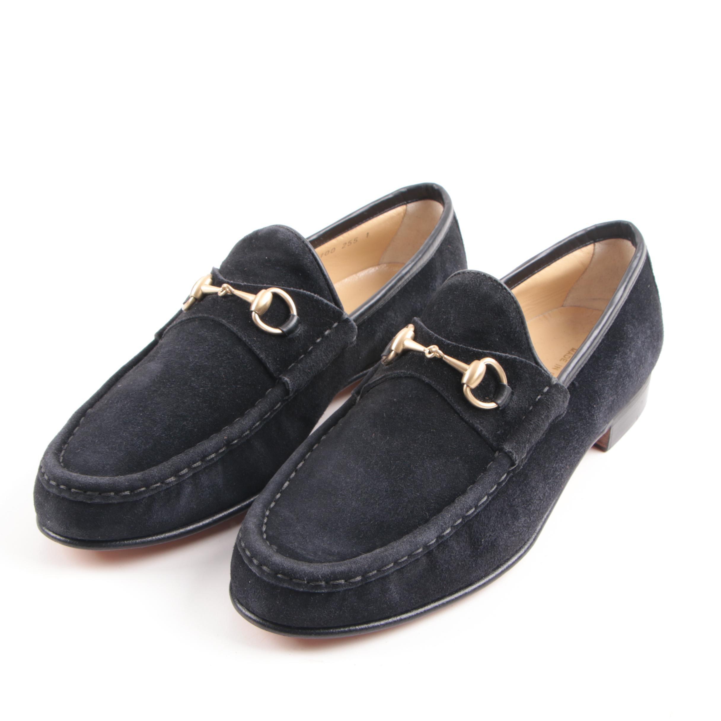 Women's Gucci Black Suede Horsebit Loafers