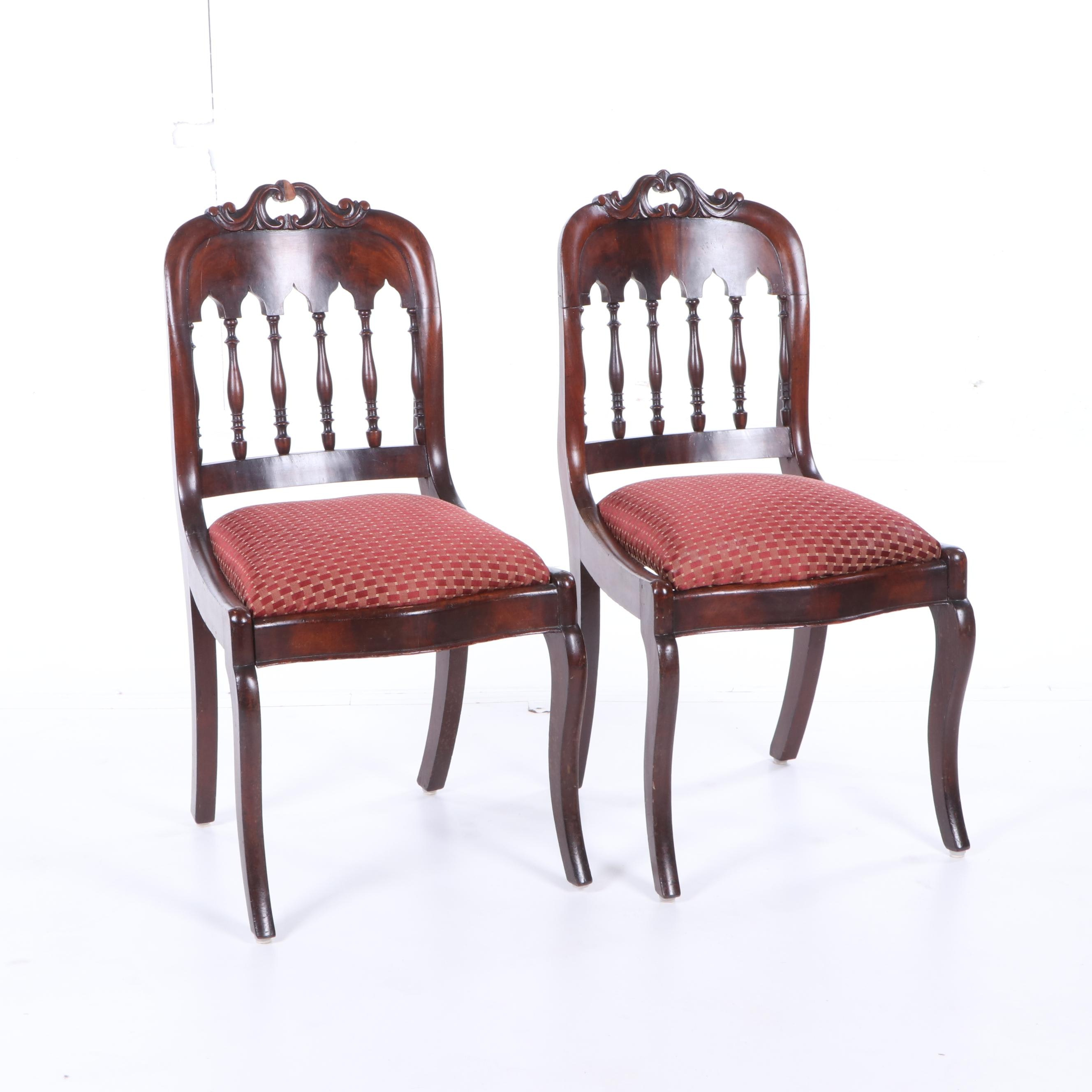 Victorian Mahogany Side Chairs, Mid 19th Century