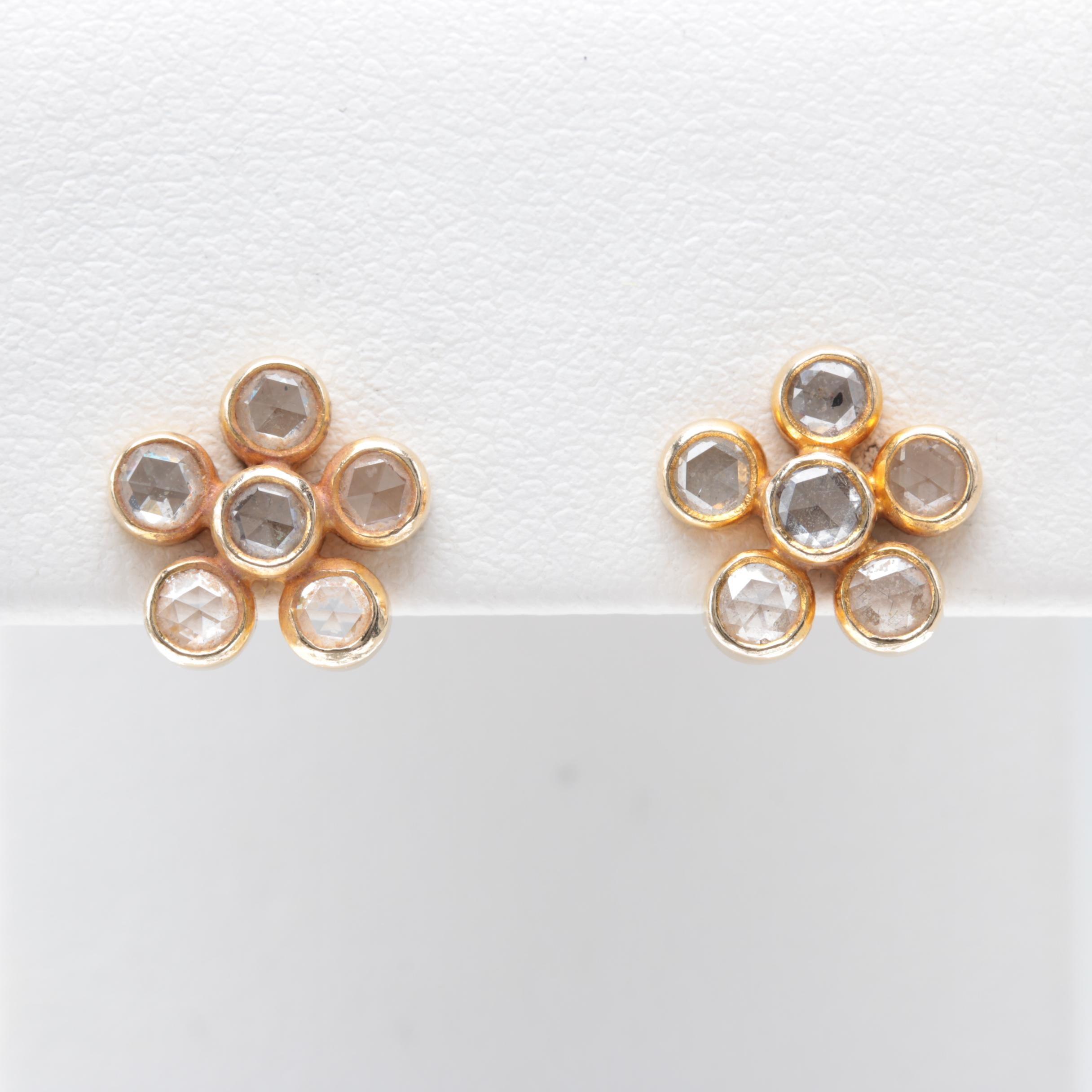 14K Yellow Gold Diamond Flower Earrings