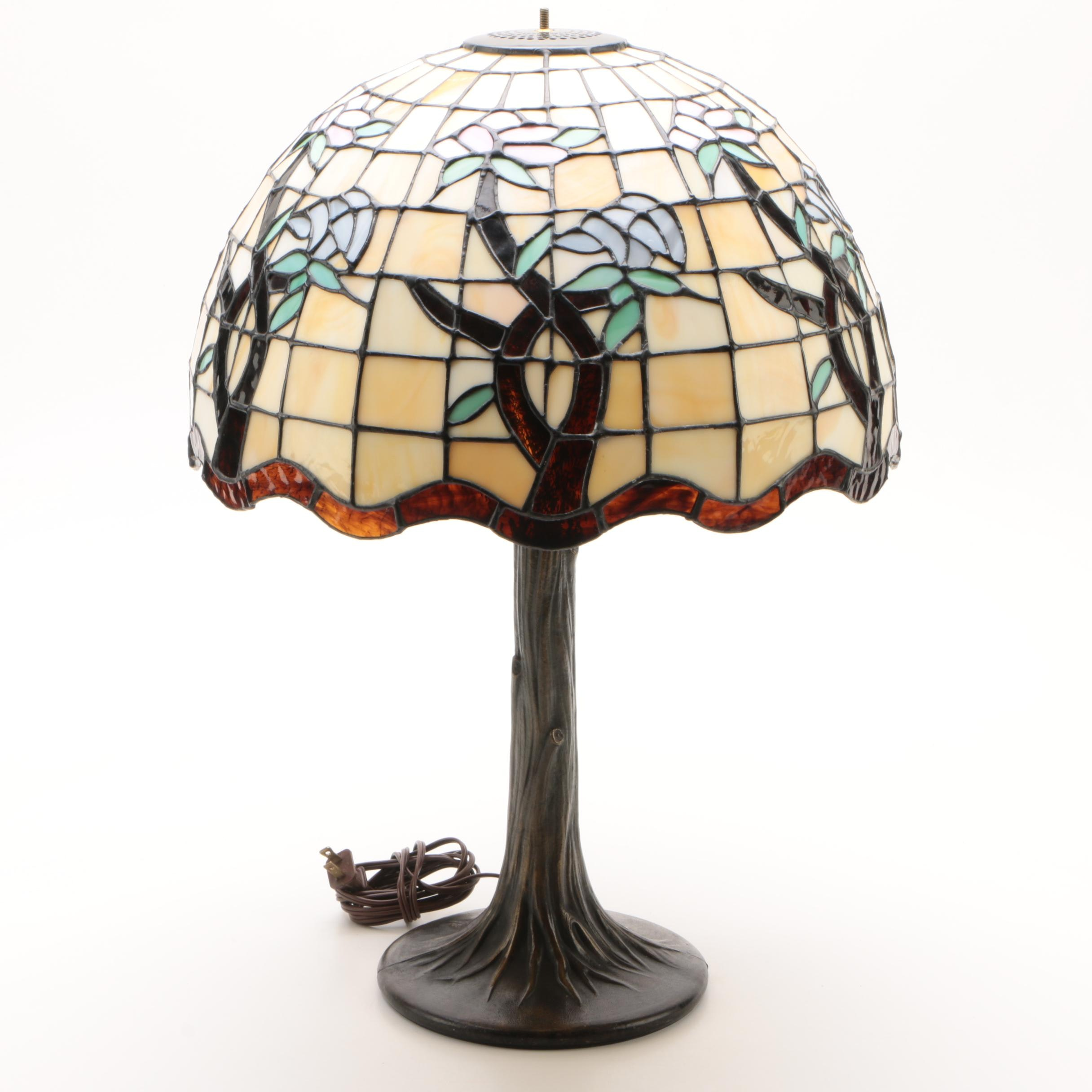 Cast Metal Table Lamp with Floral Stained Glass Shade