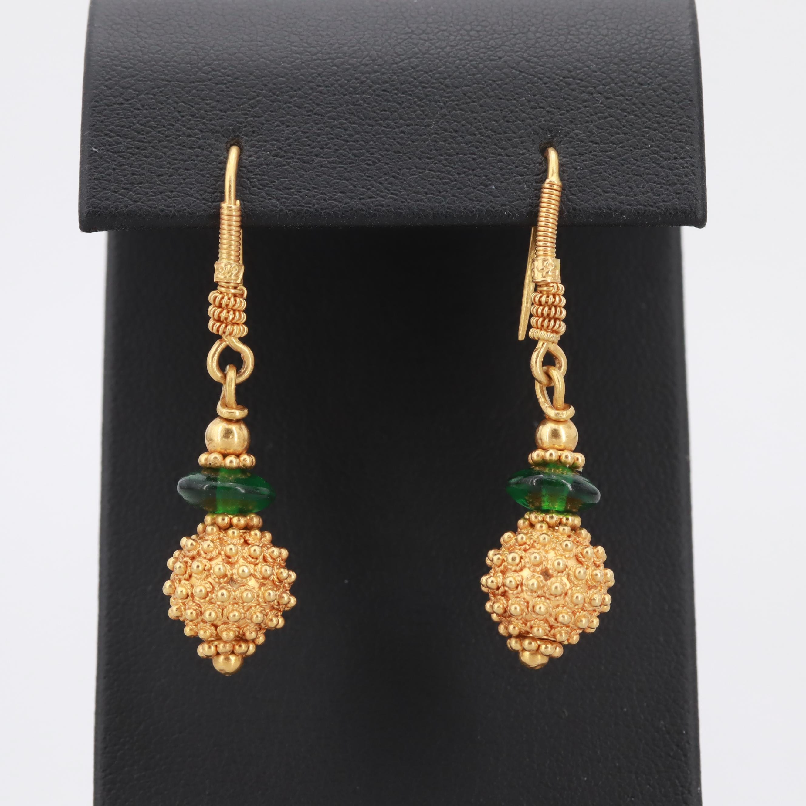 18K Yellow Gold Glass Granulated Drop Earrings