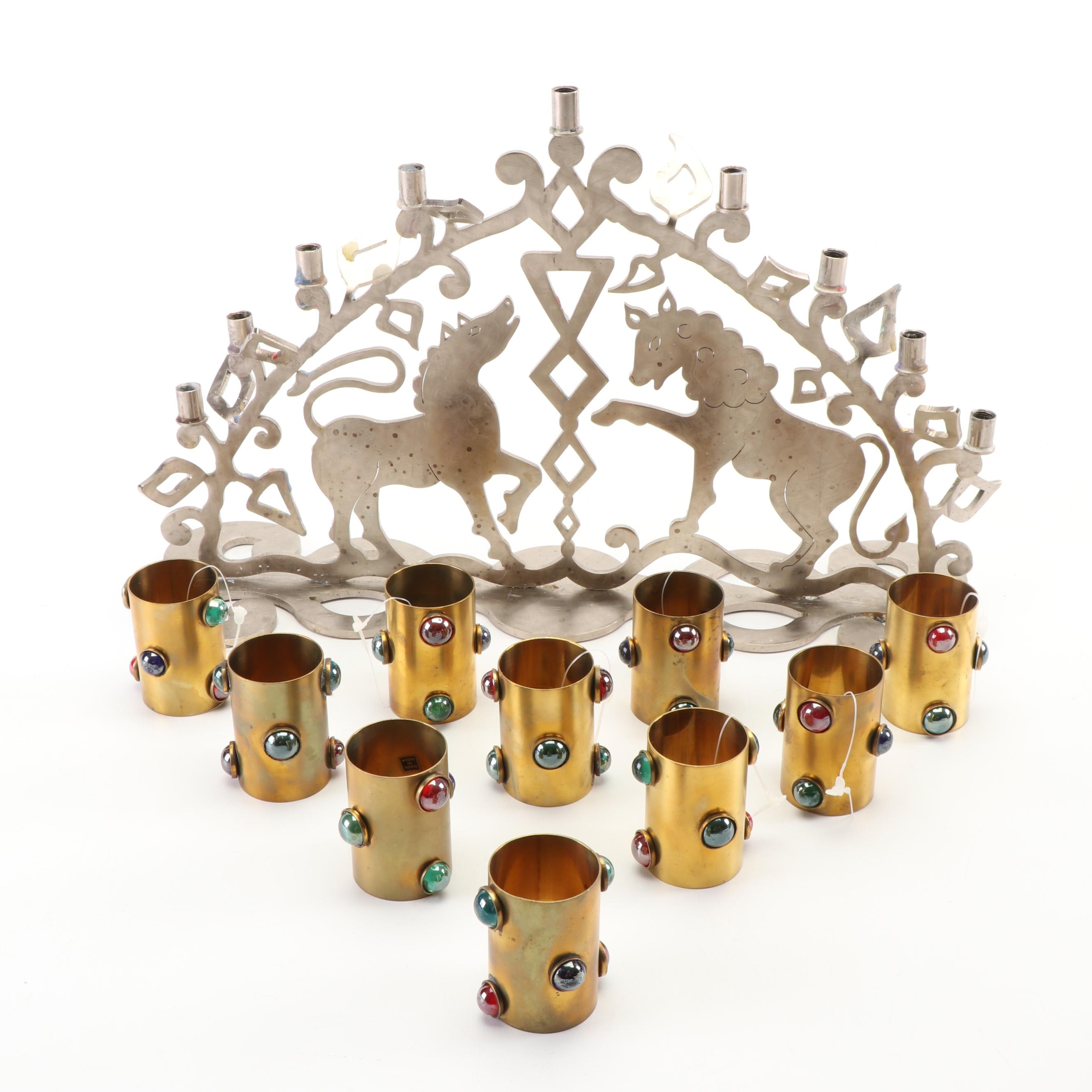 Amy Hess Steel Menorah with Brass and Glass Cabochon Napkin Rings