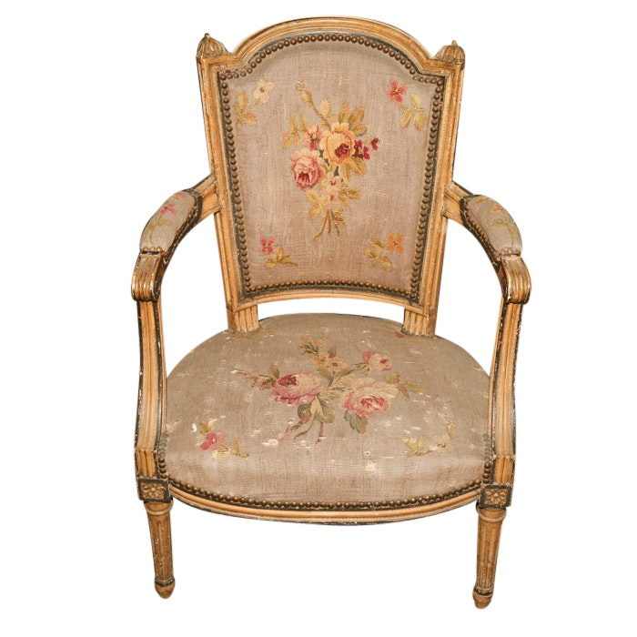 Louis XVI Style Painted Wood and Floral Upholstered Armchair, Early 20th Century