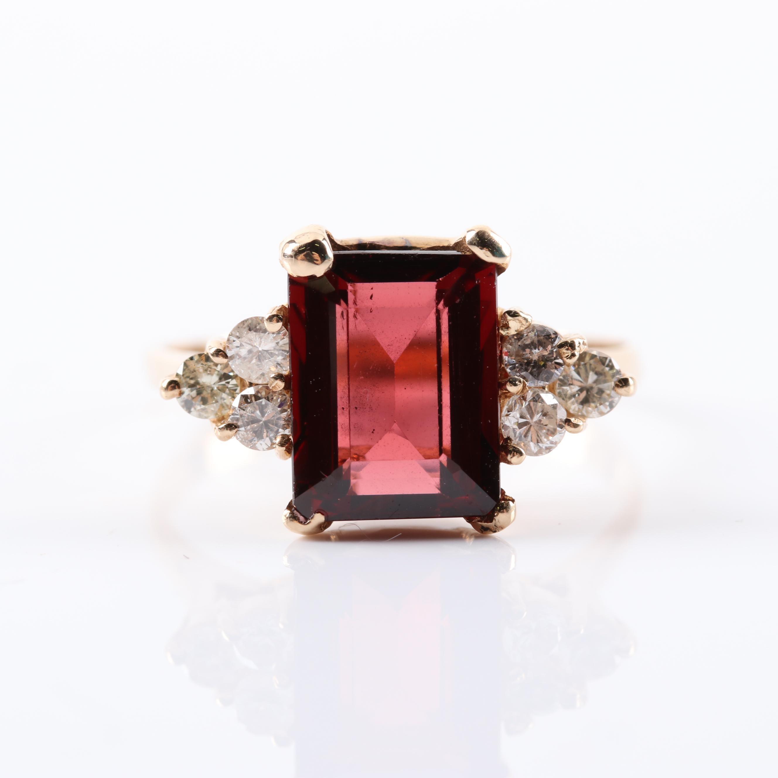 14K Yellow Gold 3.15 CT Garnet and Diamond Ring