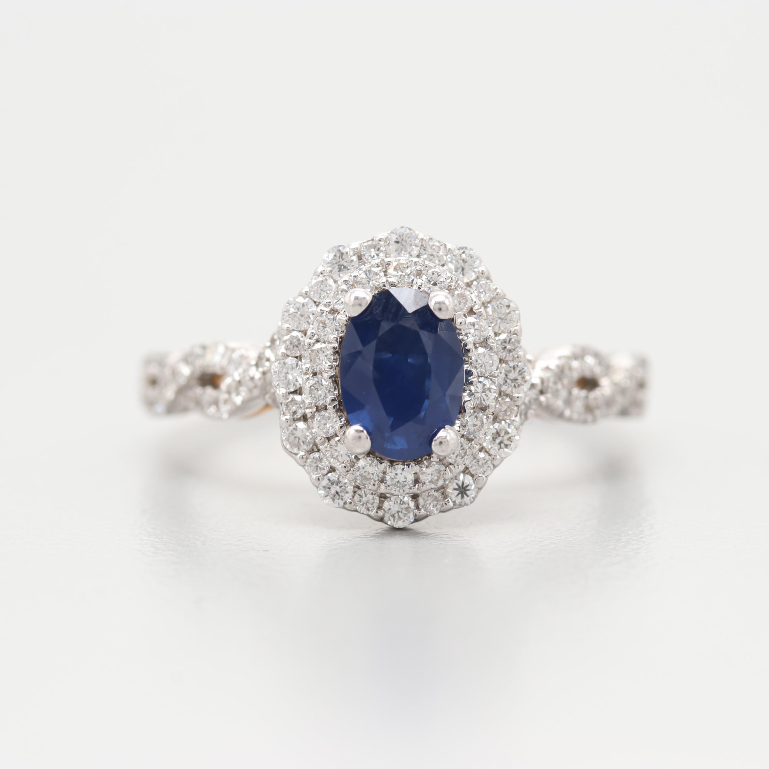 "Zac Posen ""Truly"" 14K White Gold Sapphire and Diamond Ring"
