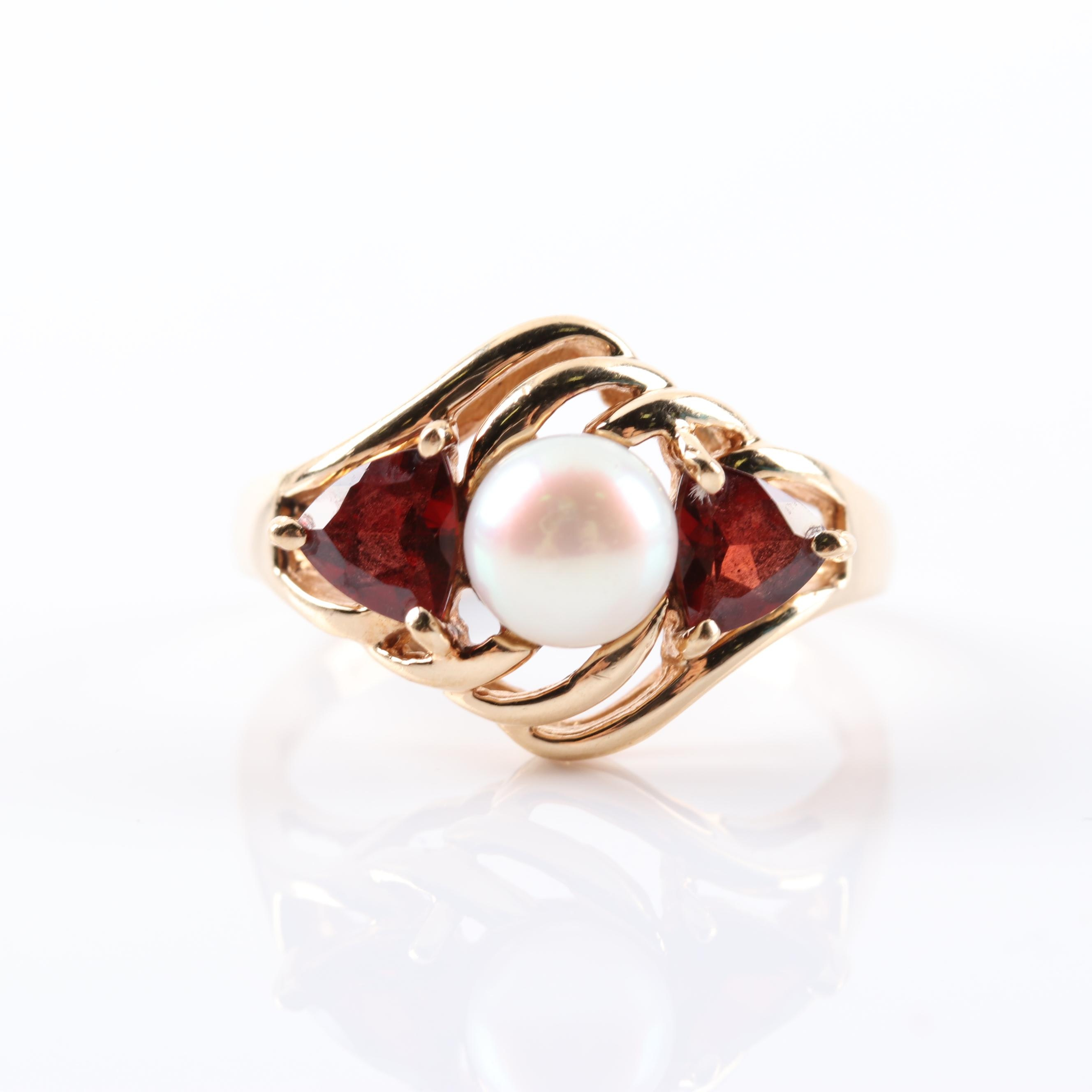 10K Yellow Gold 1.06 CTW Garnet and Cultured Pearl Ring