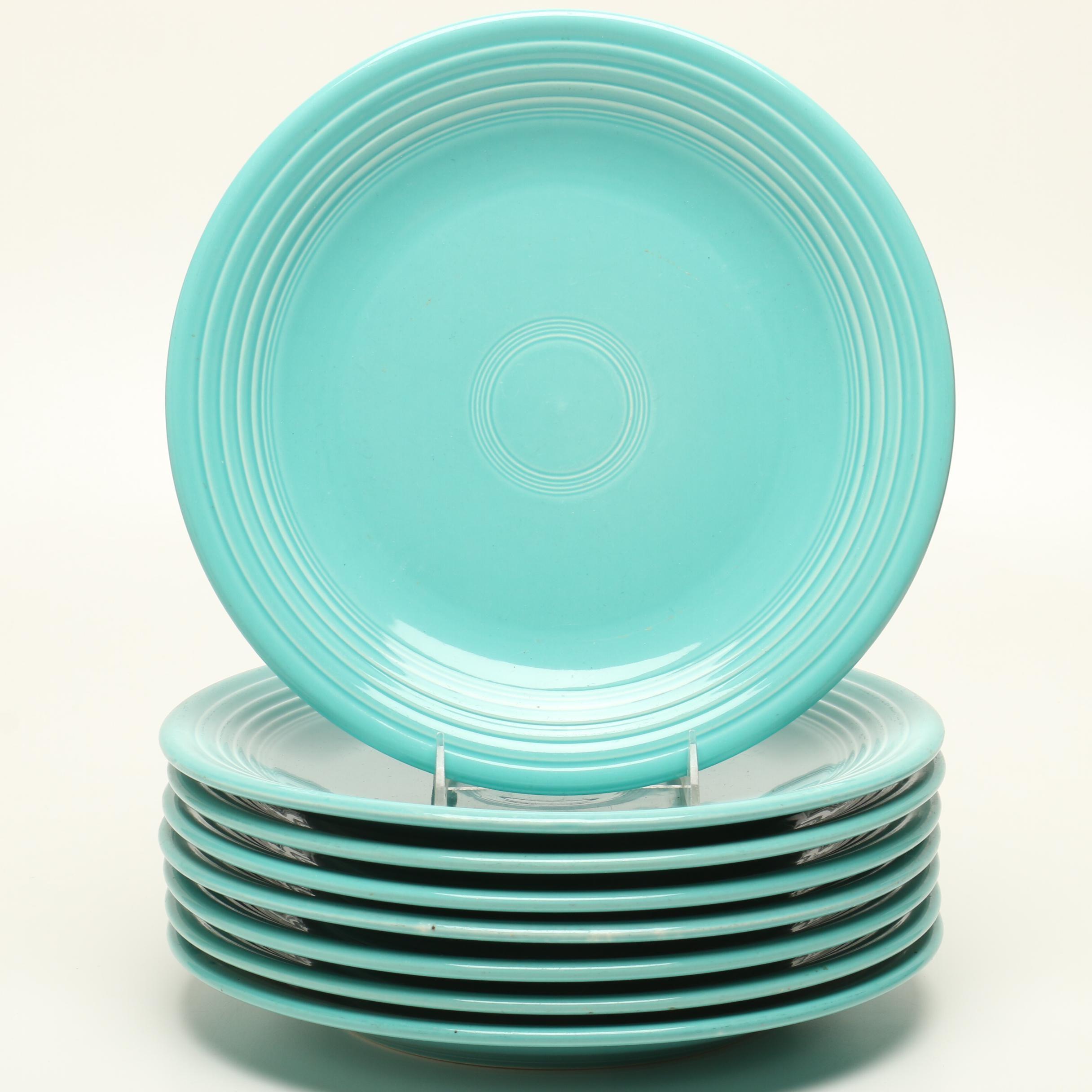 "Homer Laughlin ""Fiesta"" Turquoise Chop Plates"