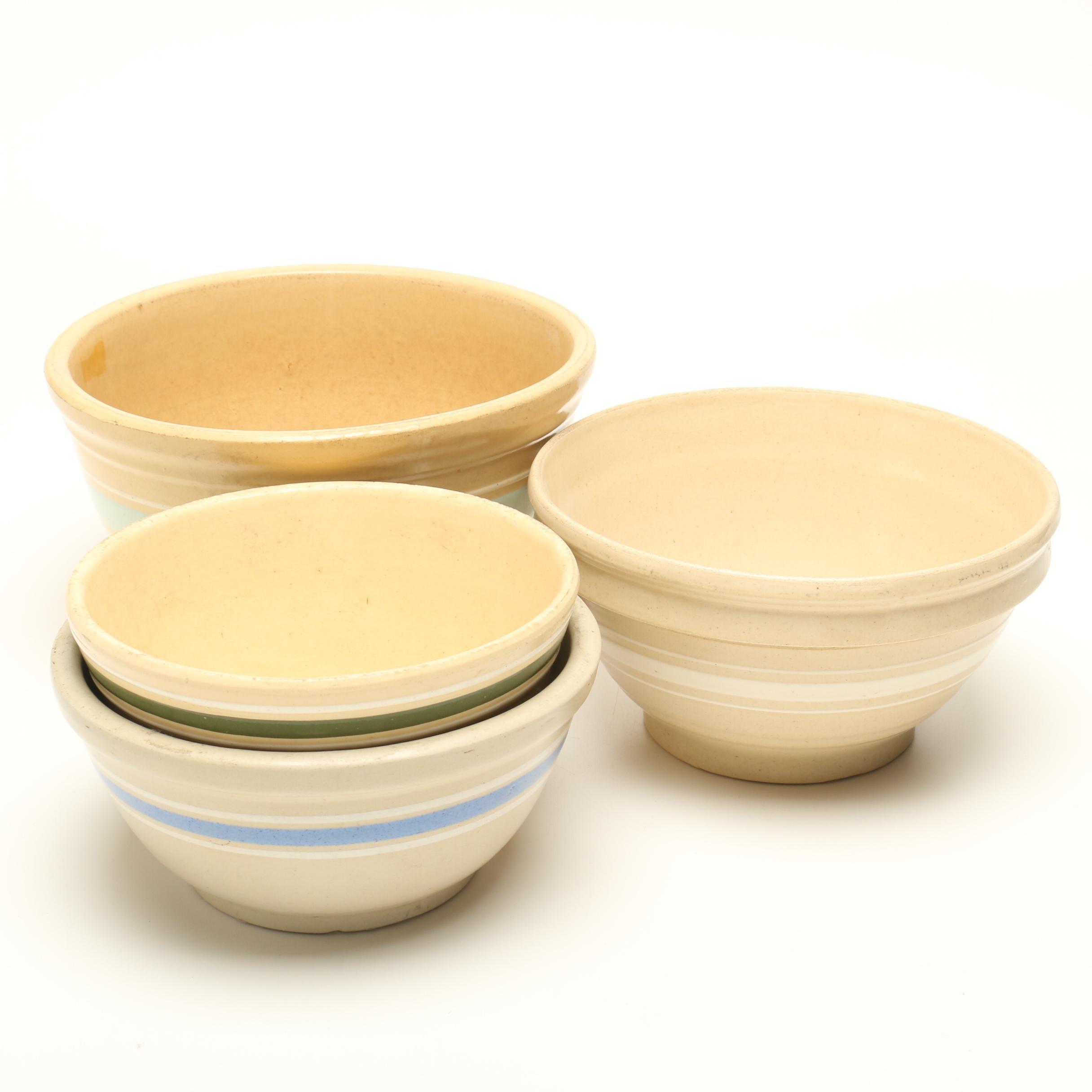 Stoneware Mixing Bowls Including Watt Ware