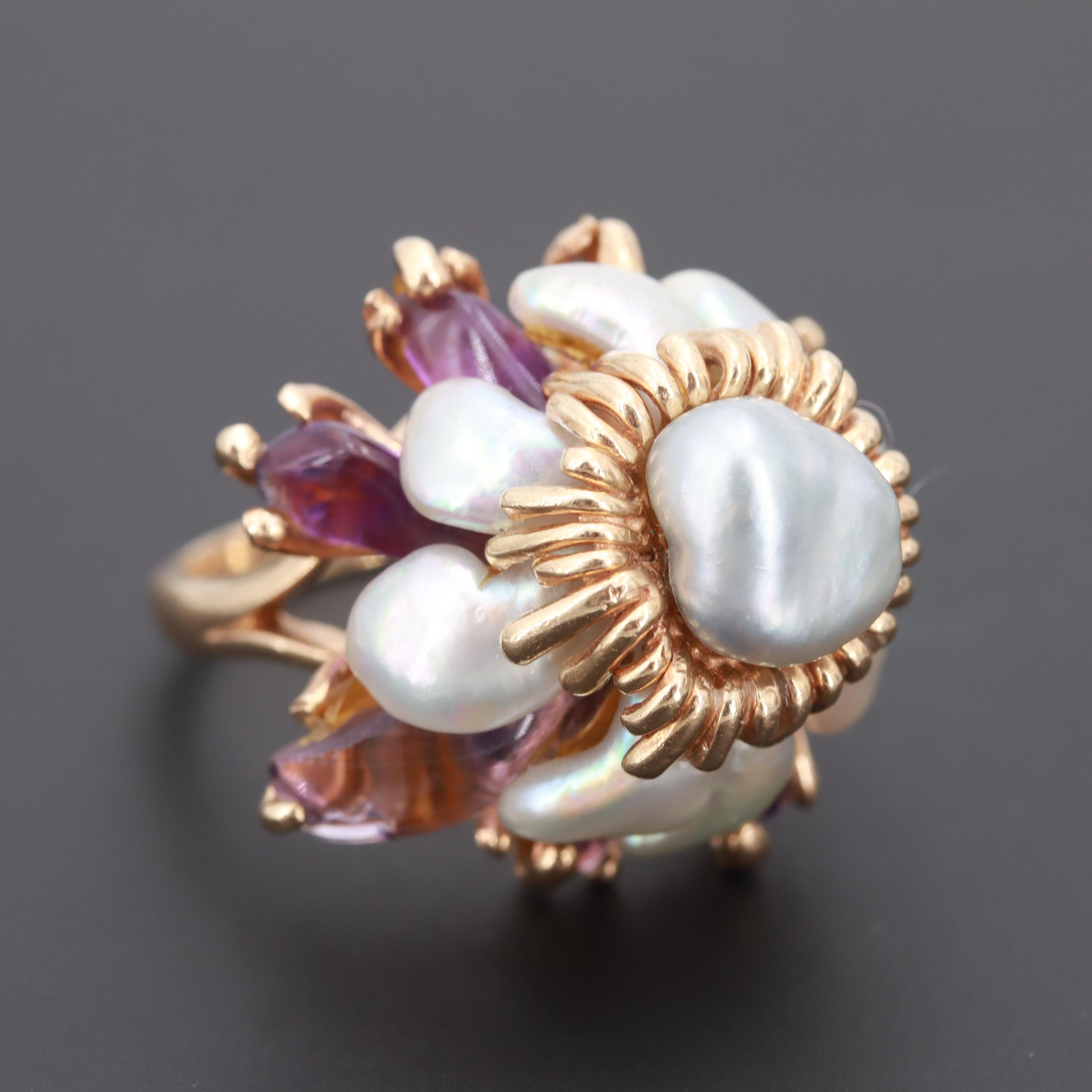 14K Yellow Gold Cultured Pearl and Amethyst Statement Ring