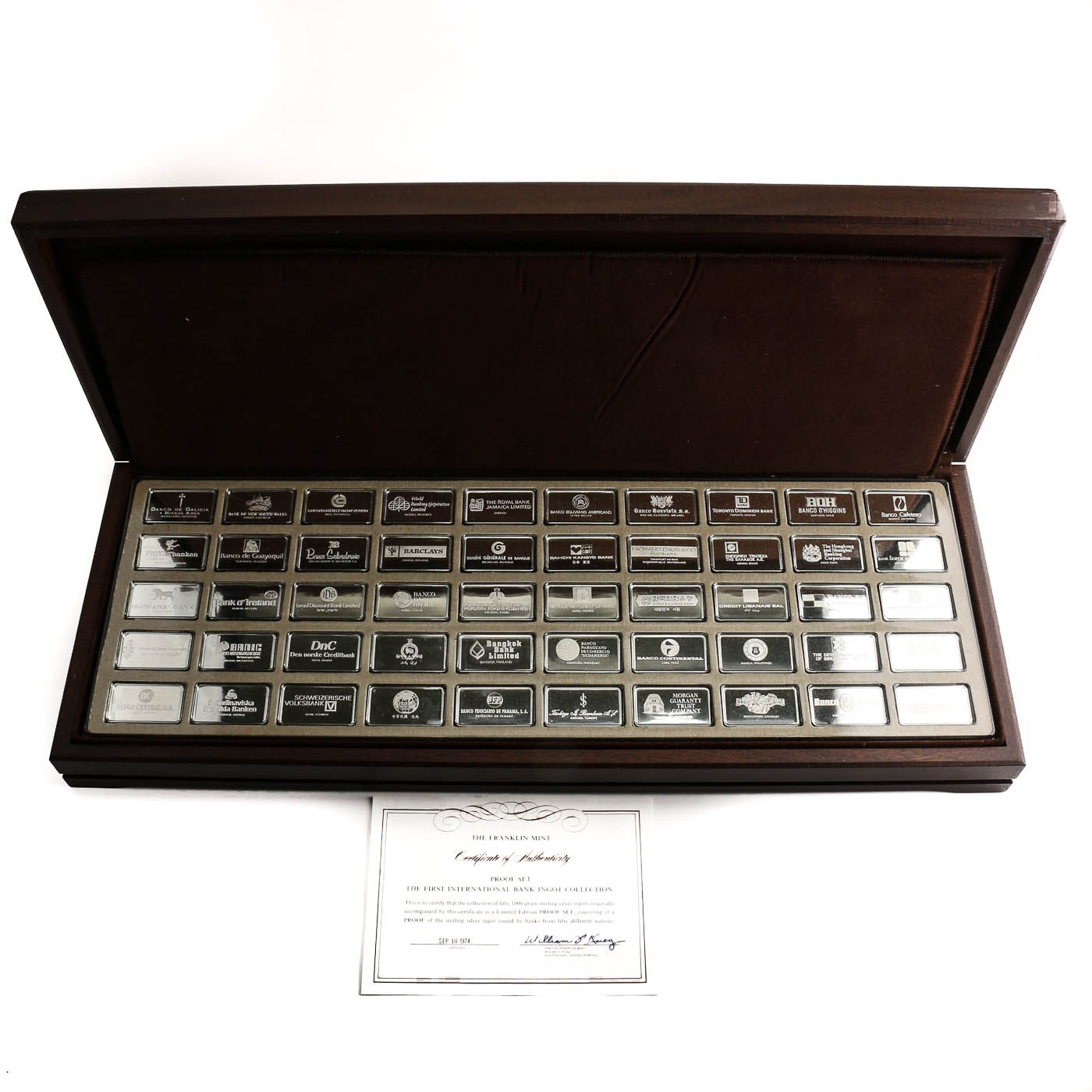 1974 Franklin Mint Collection of Fifty 1000 Grain Sterling Silver Ingots