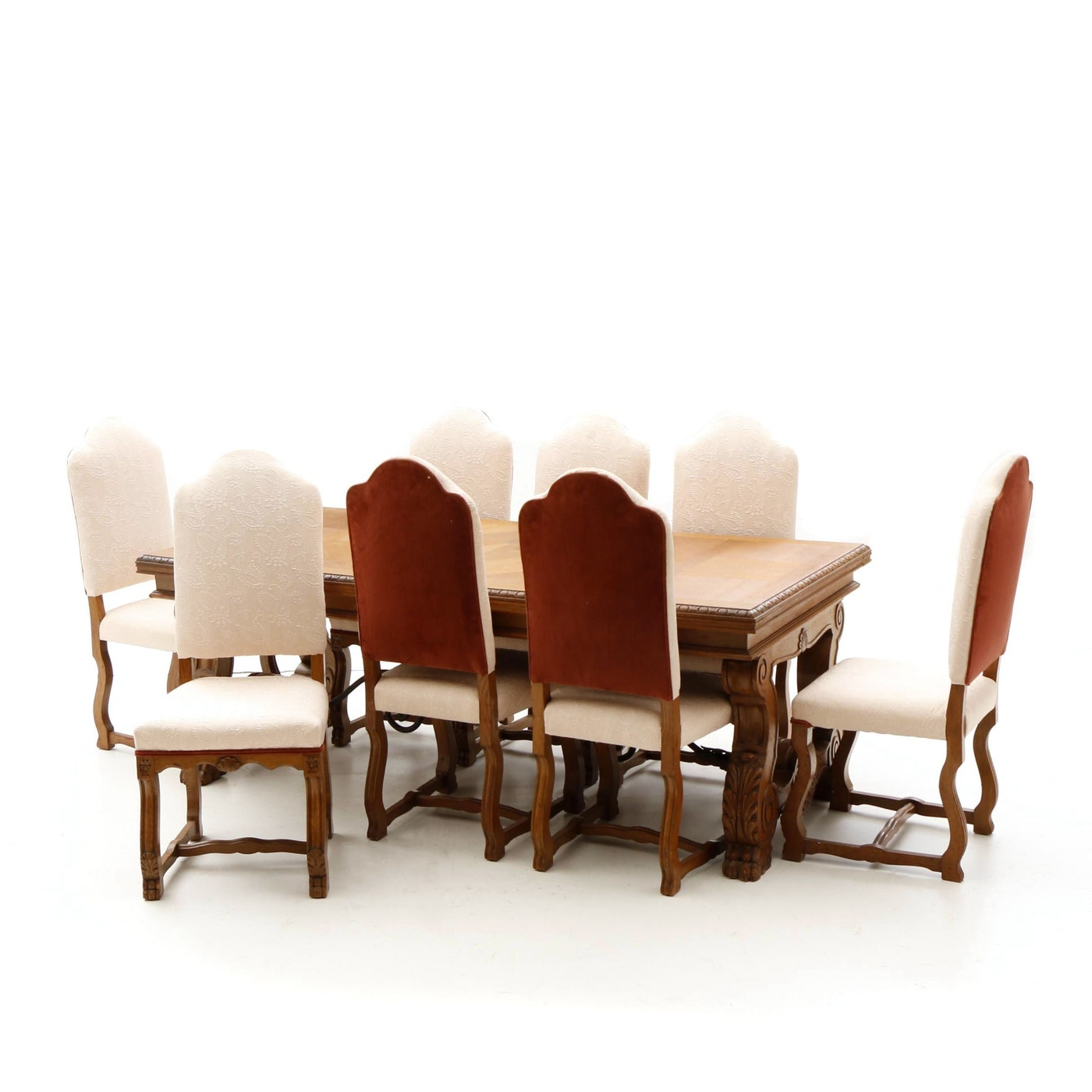 Renaissance Revival Style Dining Table and Chairs in Oak