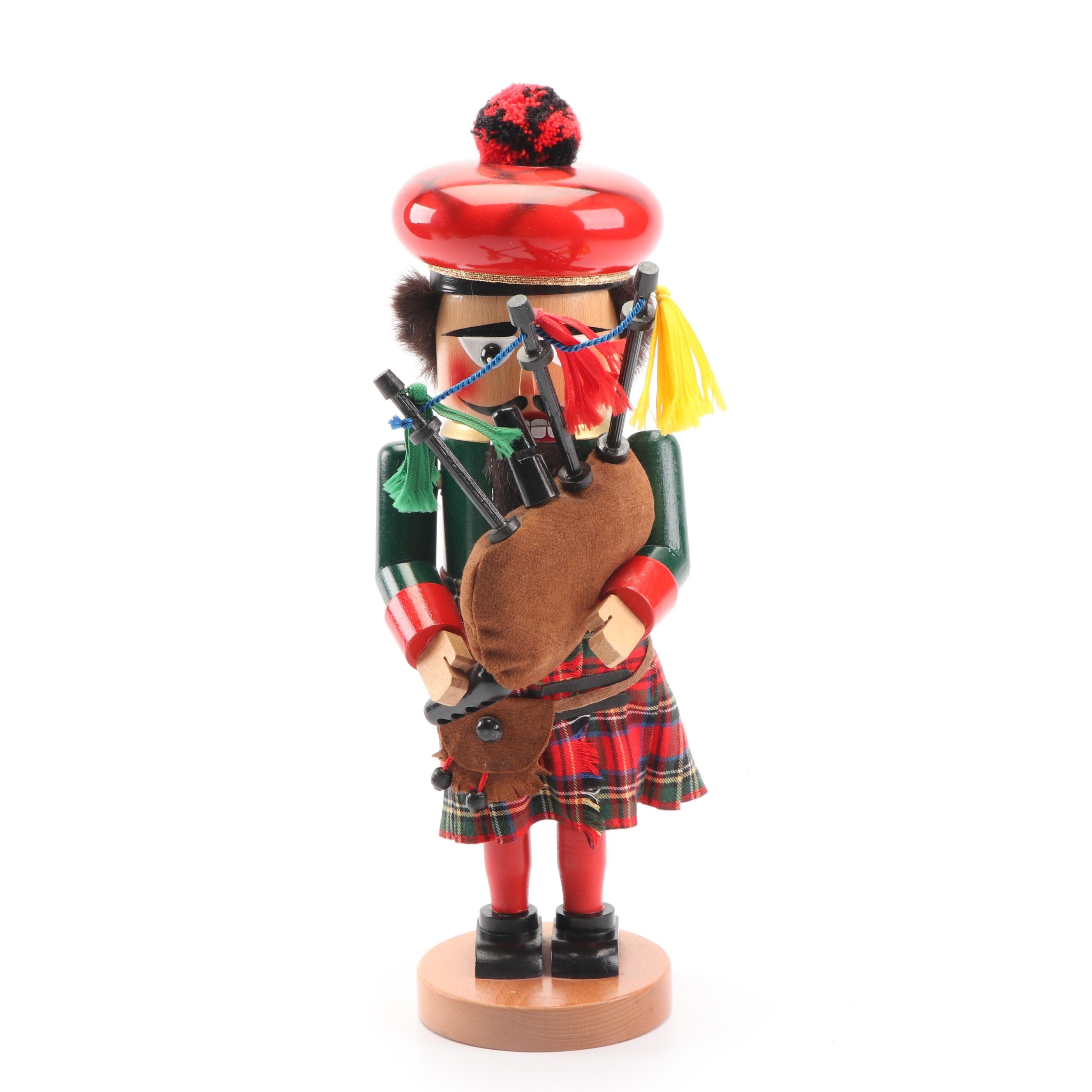 "Steinbach ""Scottish Bagpiper"" German Wooden Nutcracker"