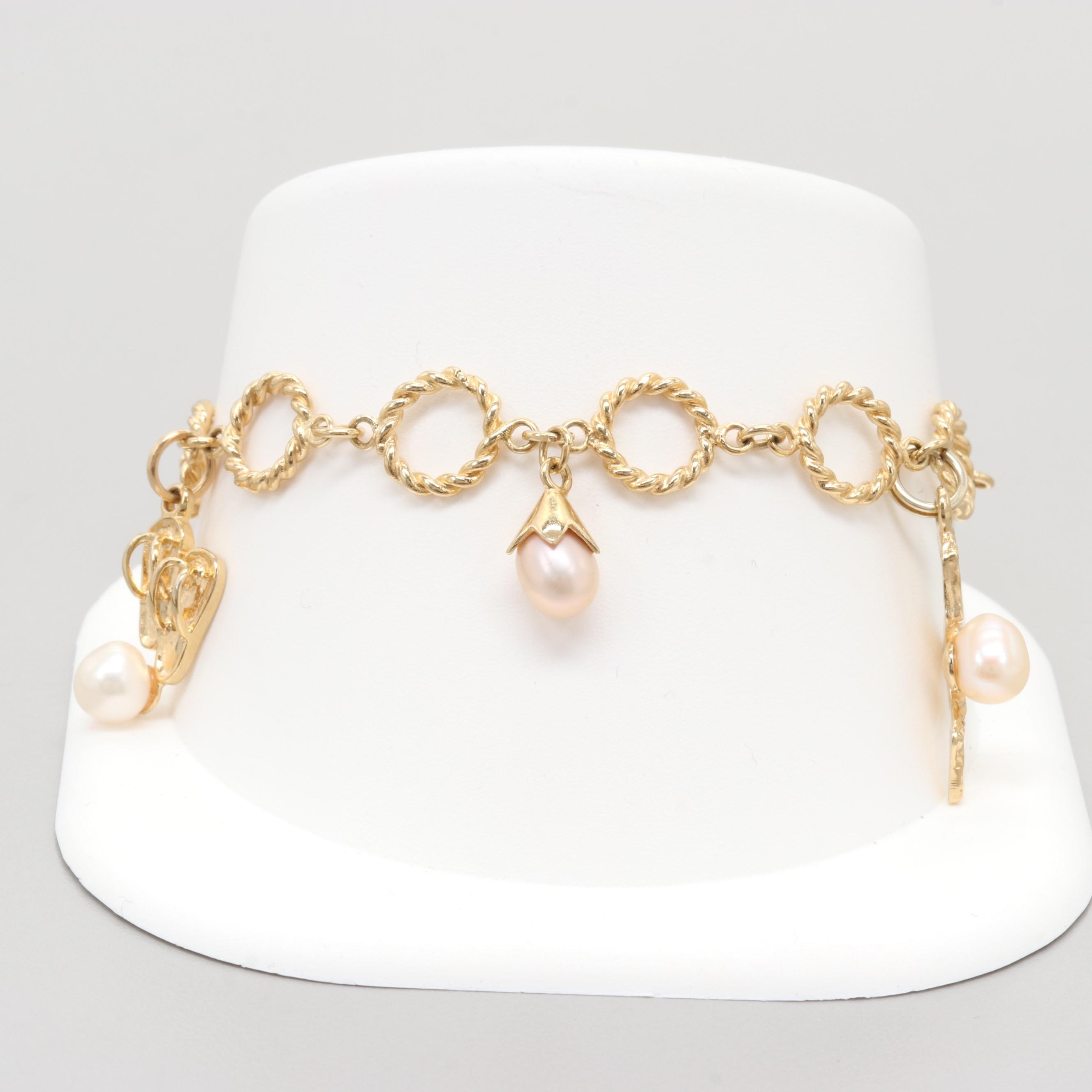 Gold Wash on Sterling Silver Cultured Pearl Charm Bracelet