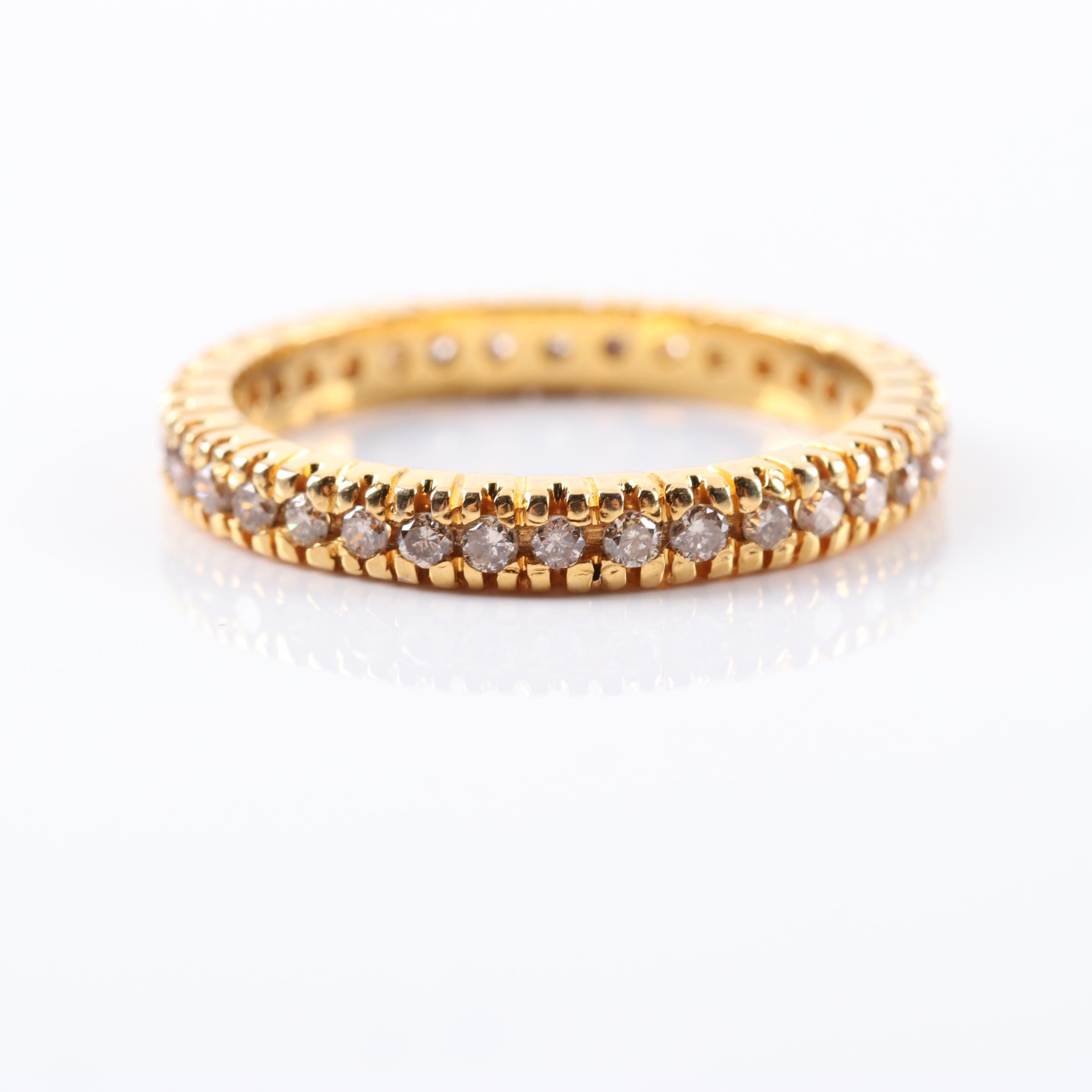 14K Yellow Gold Diamond Eternity Wedding Band