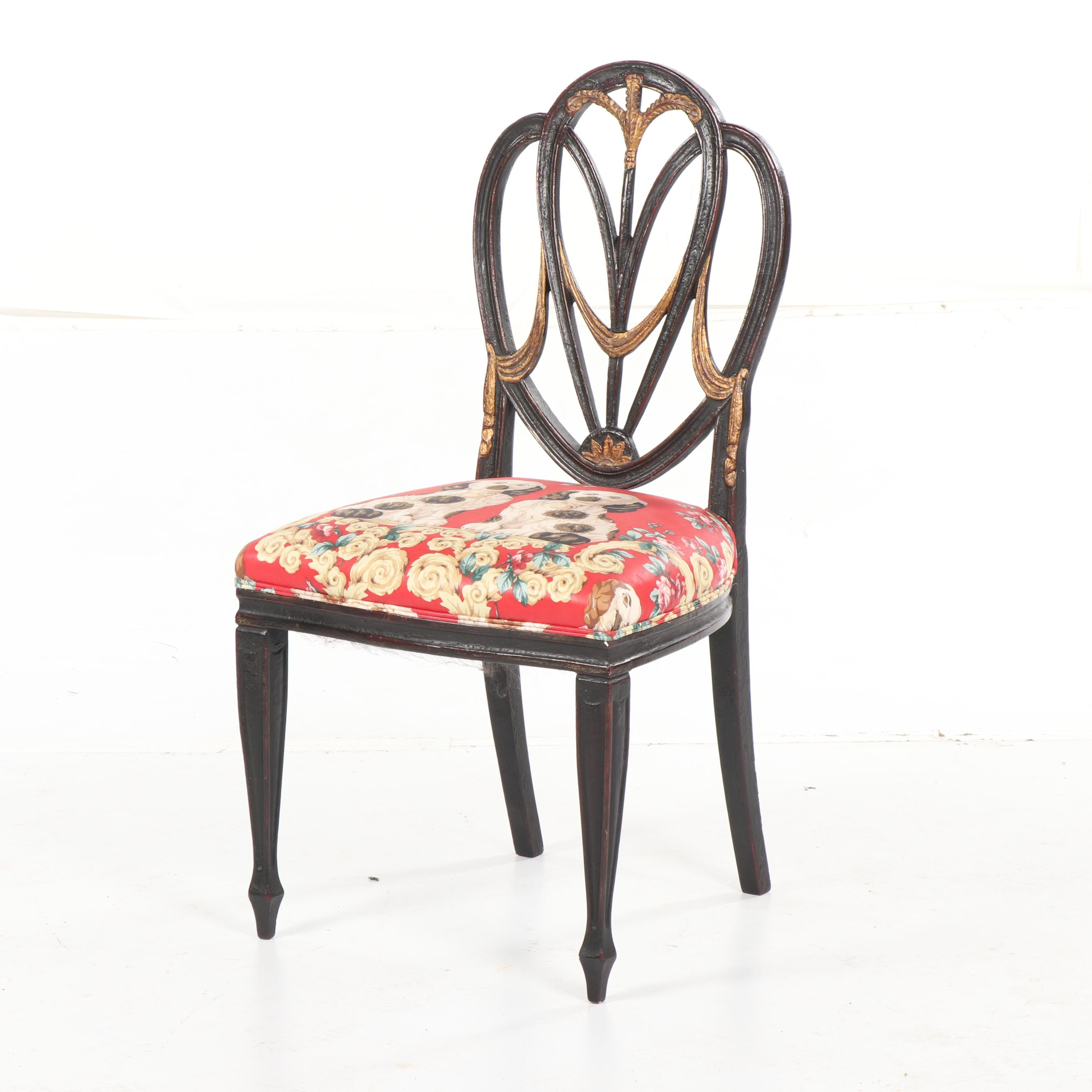 Federal Style Painted Wooden Chair with Staffordshire Dog Upholstery, 20th Cent.