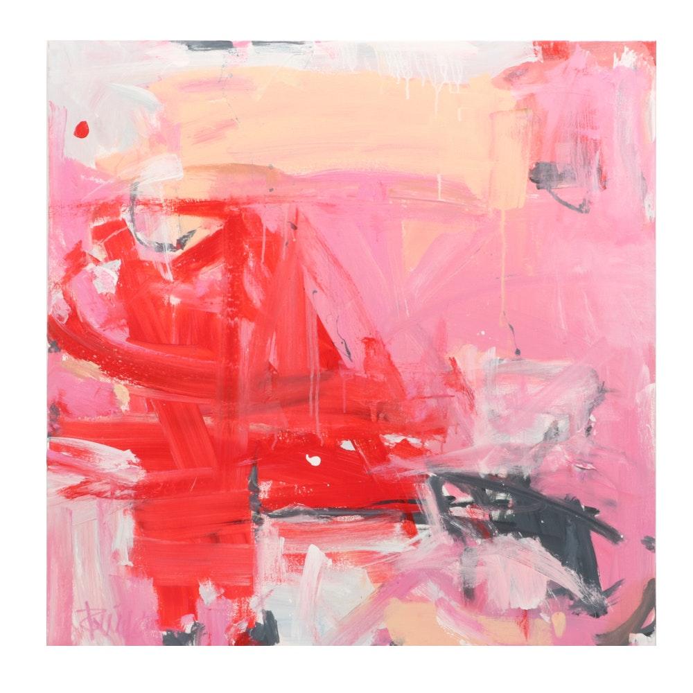 "Robbie Kemper Acrylic Painting ""Pinks Orange Pink"""