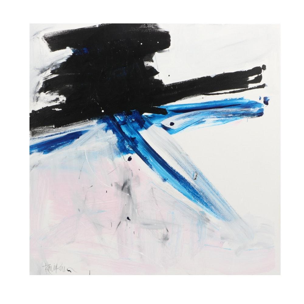 "Robbie Kemper Acrylic Painting ""Ultra Blue Black"""