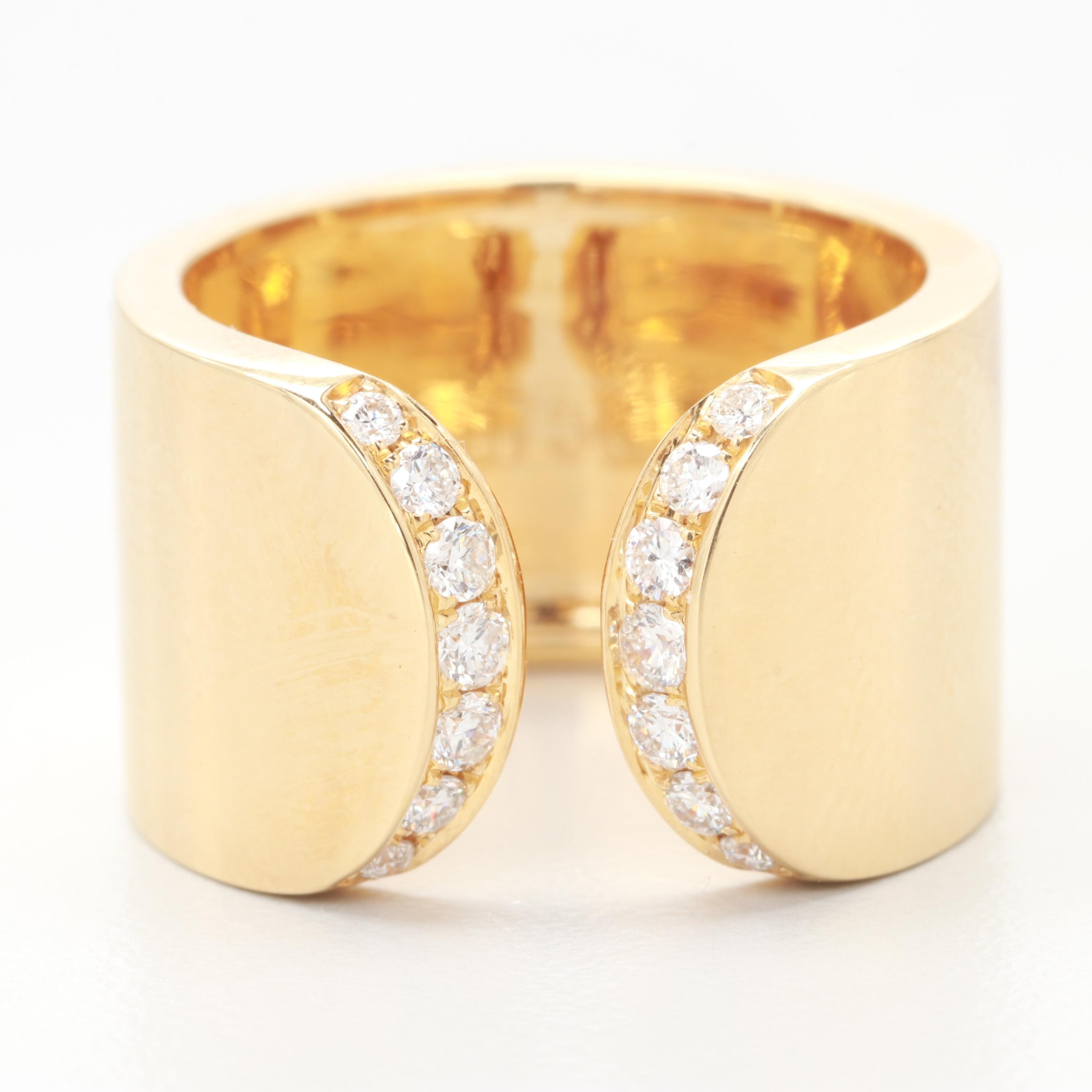 18K Yellow Gold Diamond Cuff Style Ring