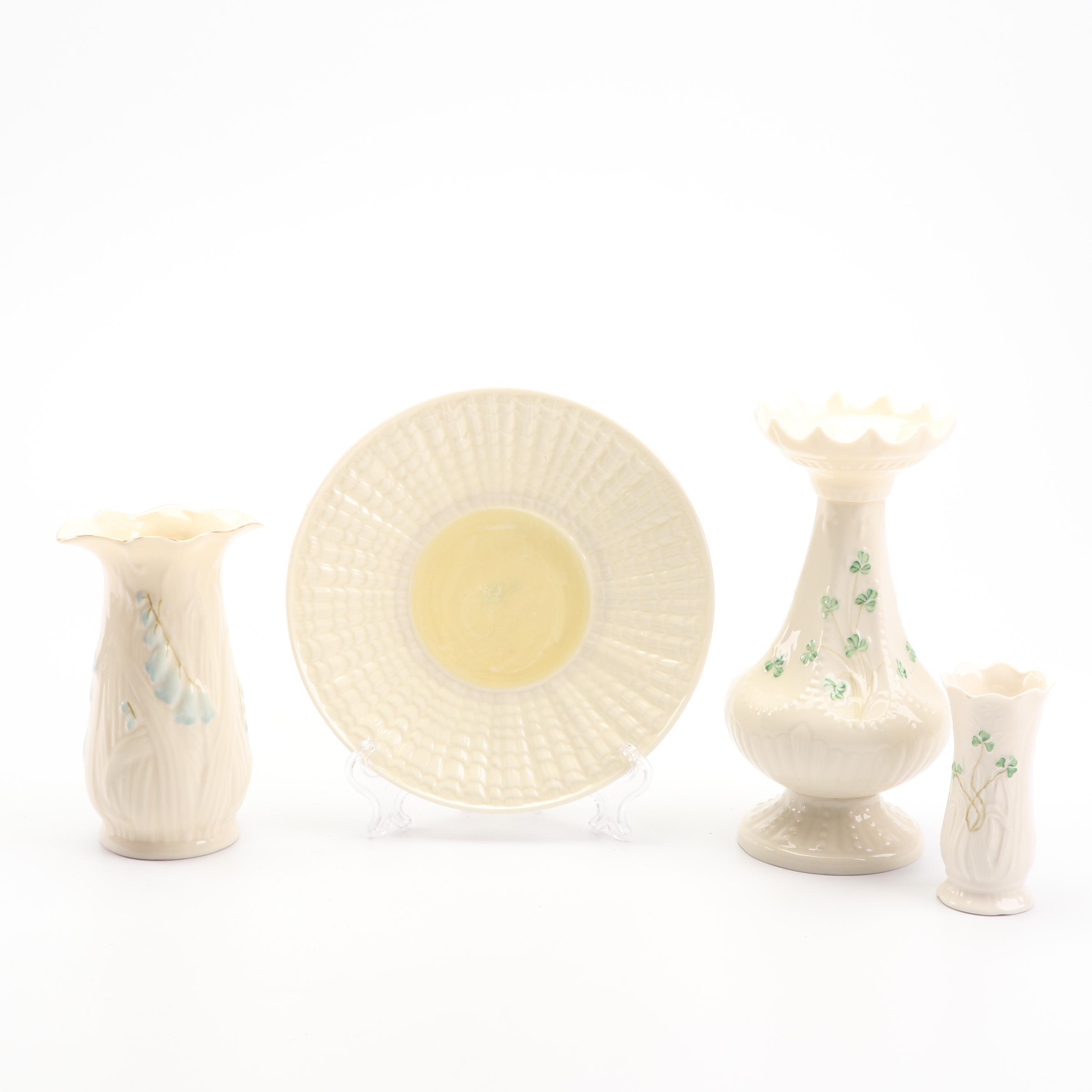 "Belleek ""Shamrock"" and ""Harebell"" Porcelain Vases and Decorative Shell Plate"