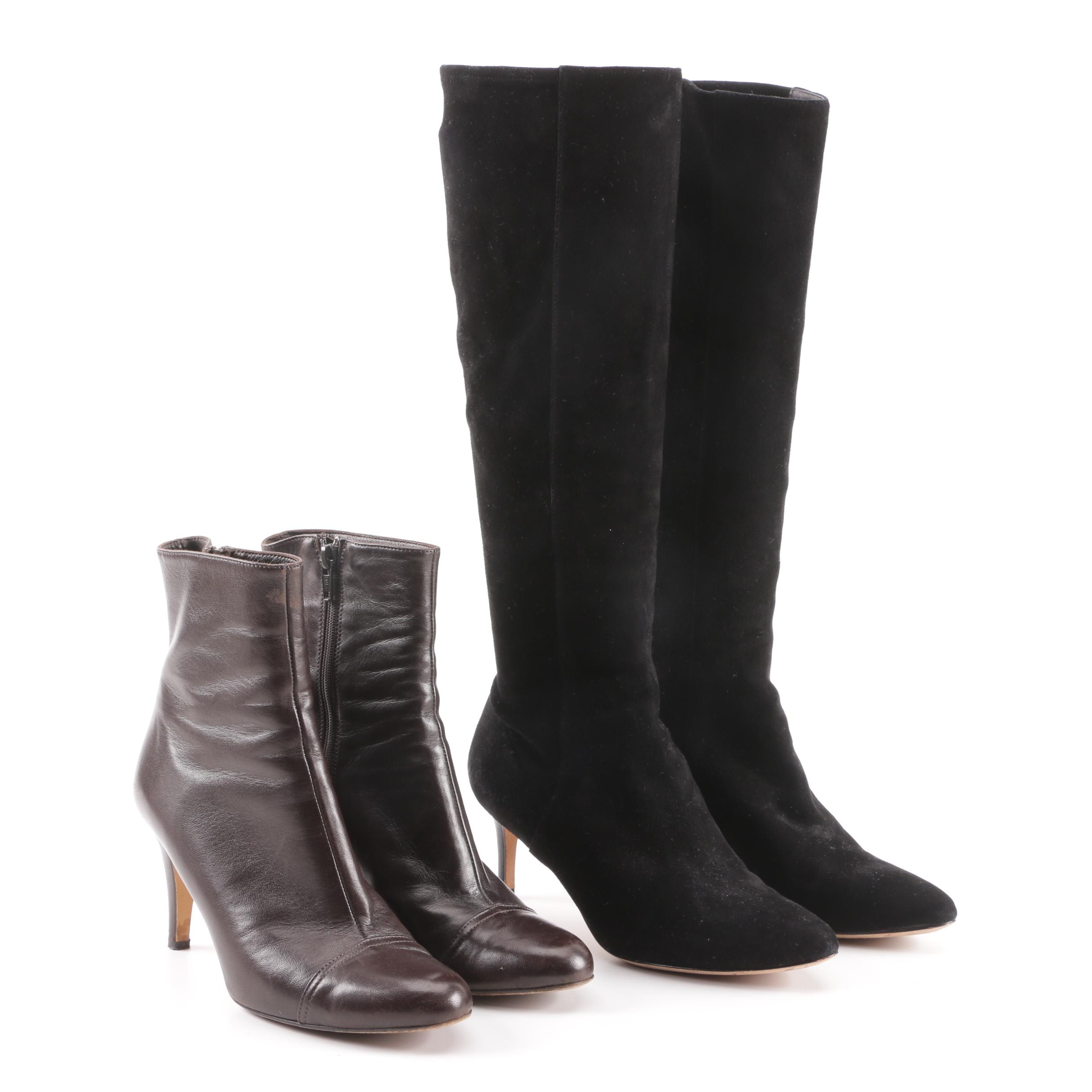 Isaac Mizrahi Leather Ankle Boots and Cole Haan Suede Tall Boots